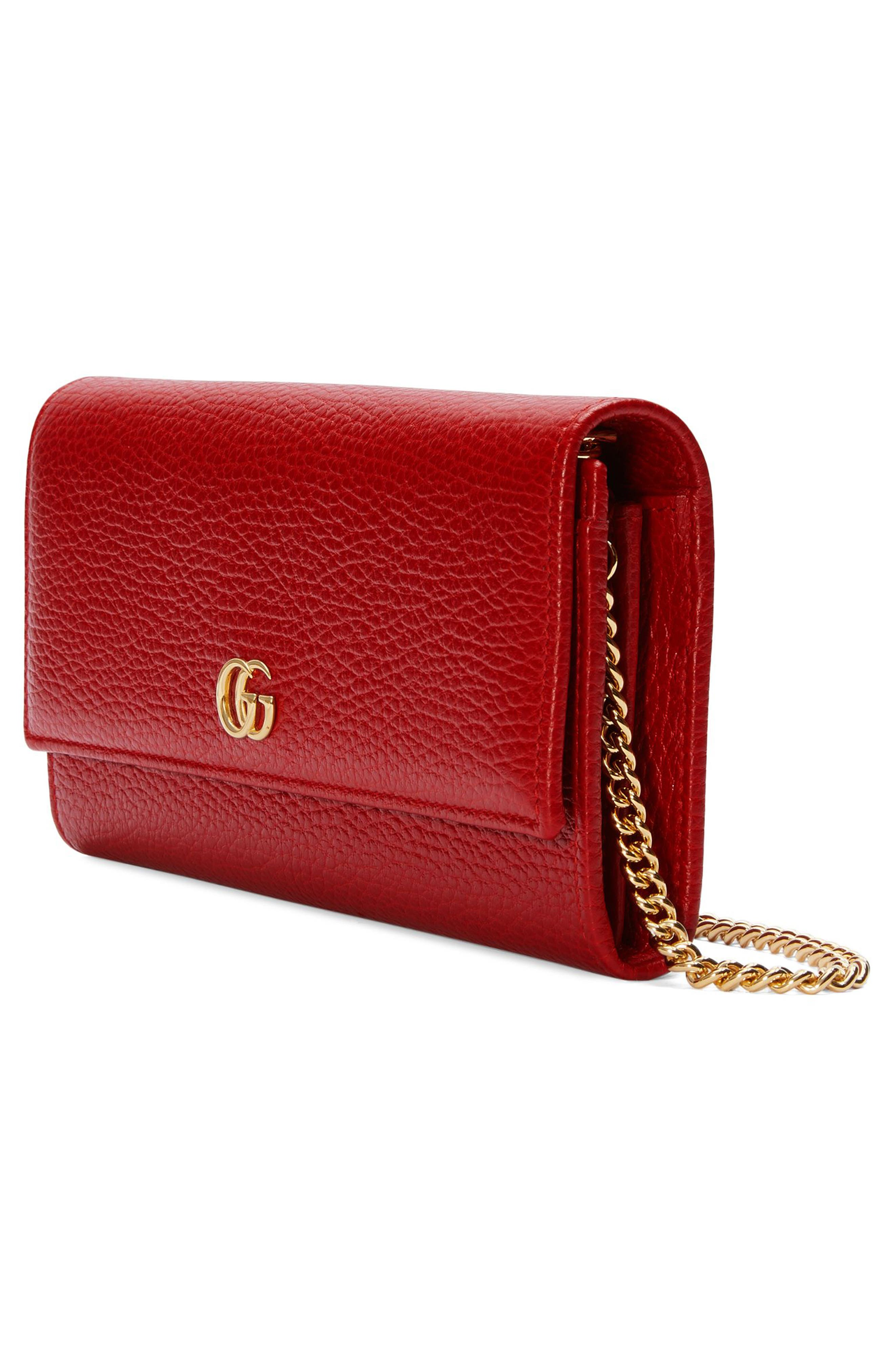 Petite Marmont Leather Continental Wallet on a Chain,                             Alternate thumbnail 4, color,                             HIBISCUS RED