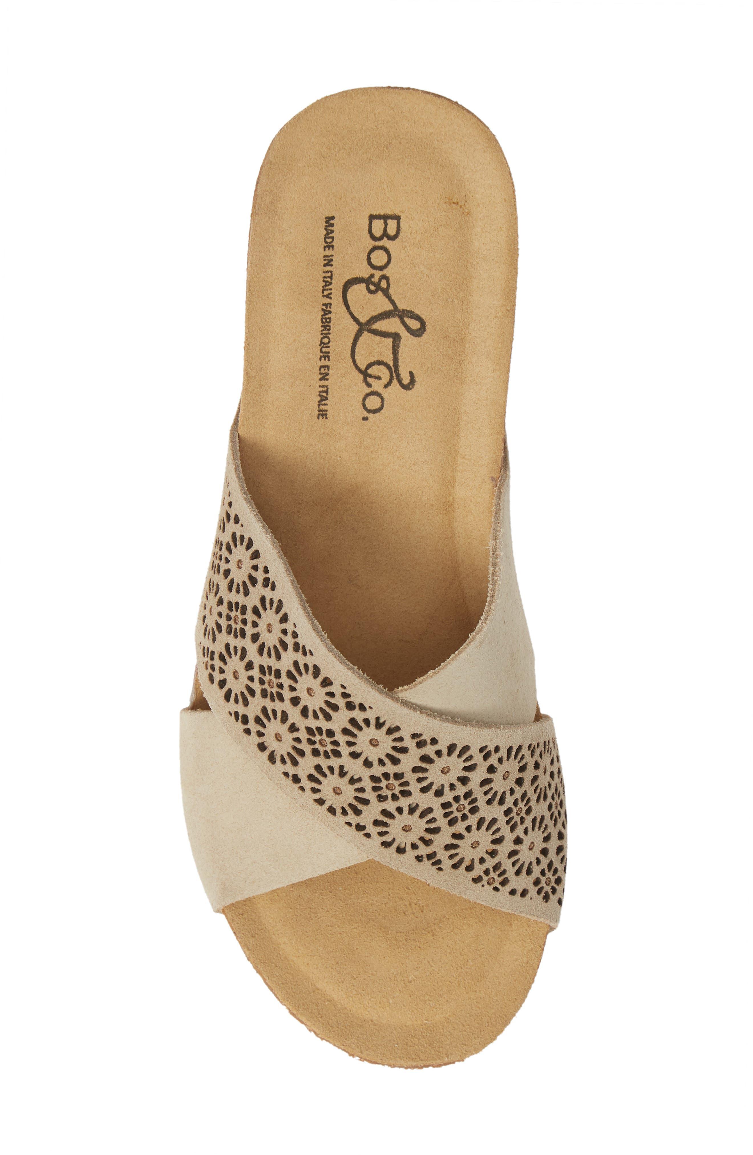 Lomi Platform Wedge Slide Sandal,                             Alternate thumbnail 5, color,                             BEIGE SUEDE