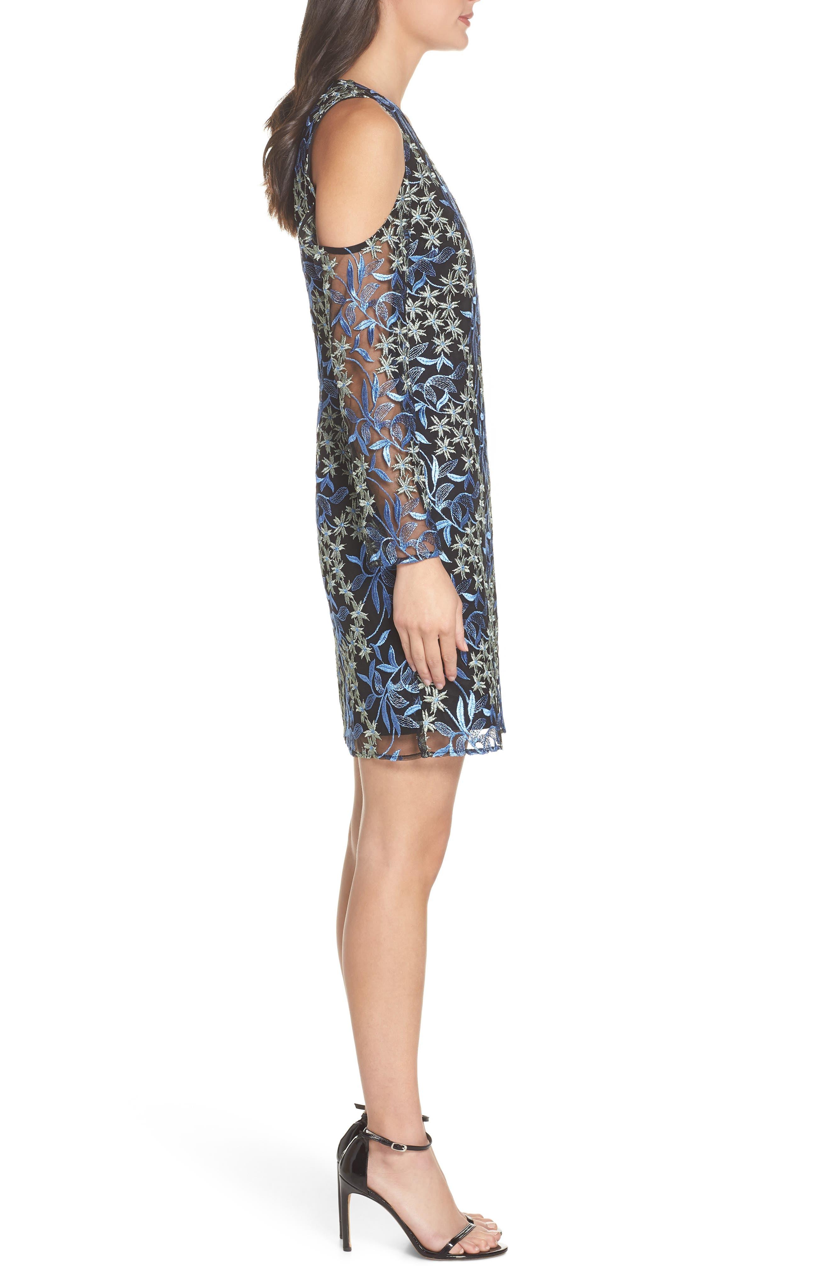 Floral Embroidered Cold Shoulder Dress,                             Alternate thumbnail 3, color,                             BLUE/ GREEN