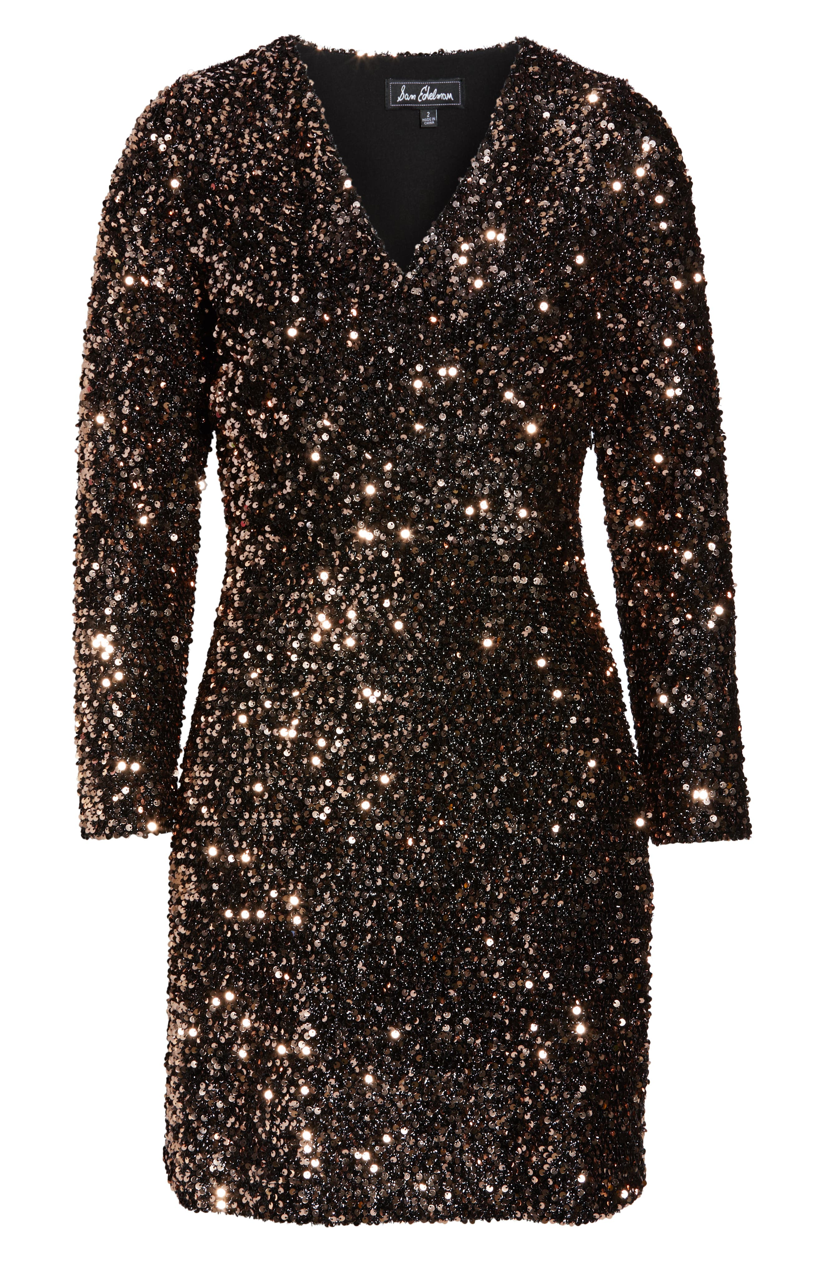 Sequin Sheath Dress,                             Alternate thumbnail 7, color,                             BRONZE