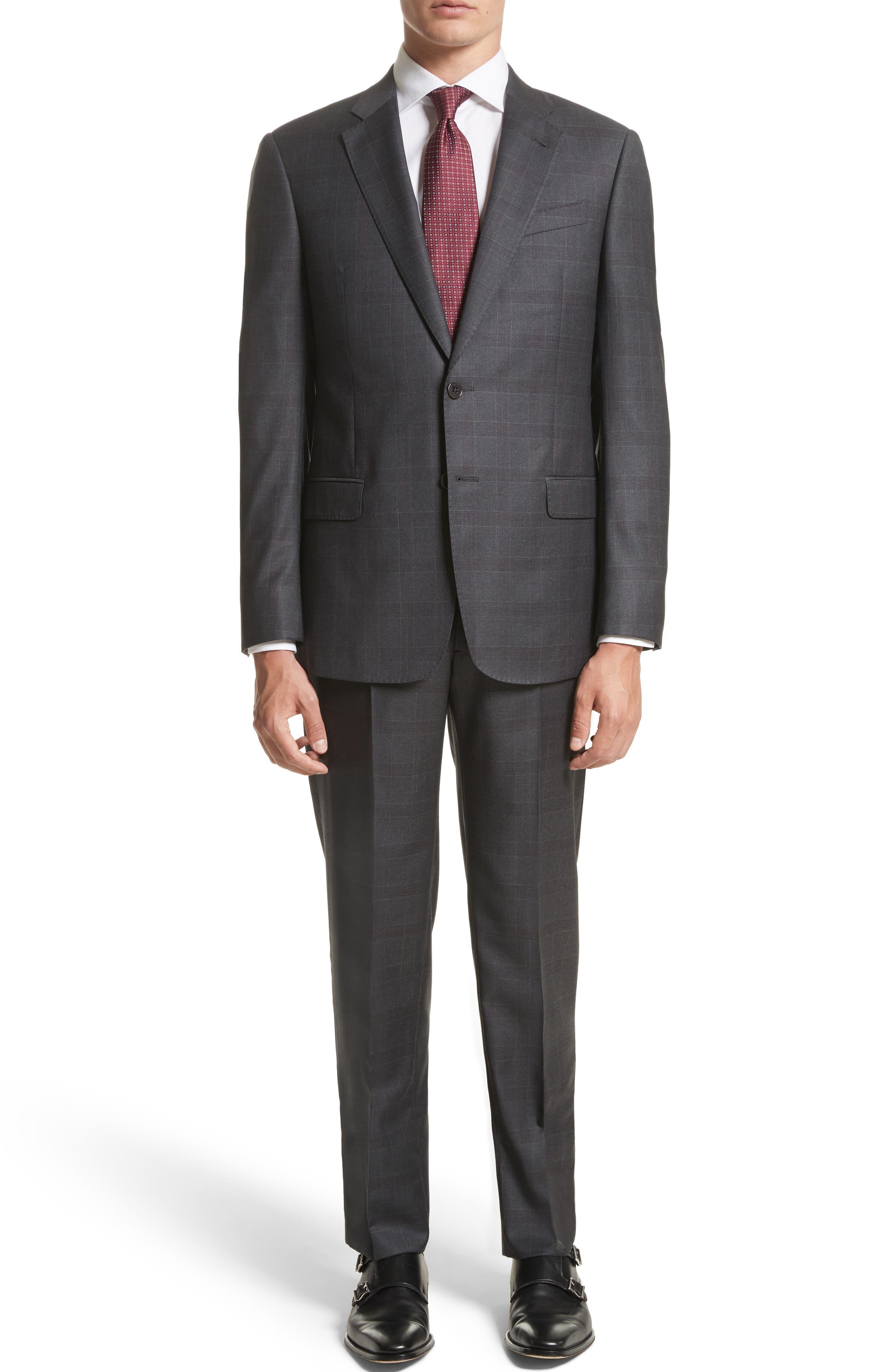 G-Line Trim Fit Plaid Wool Suit,                             Main thumbnail 1, color,                             038