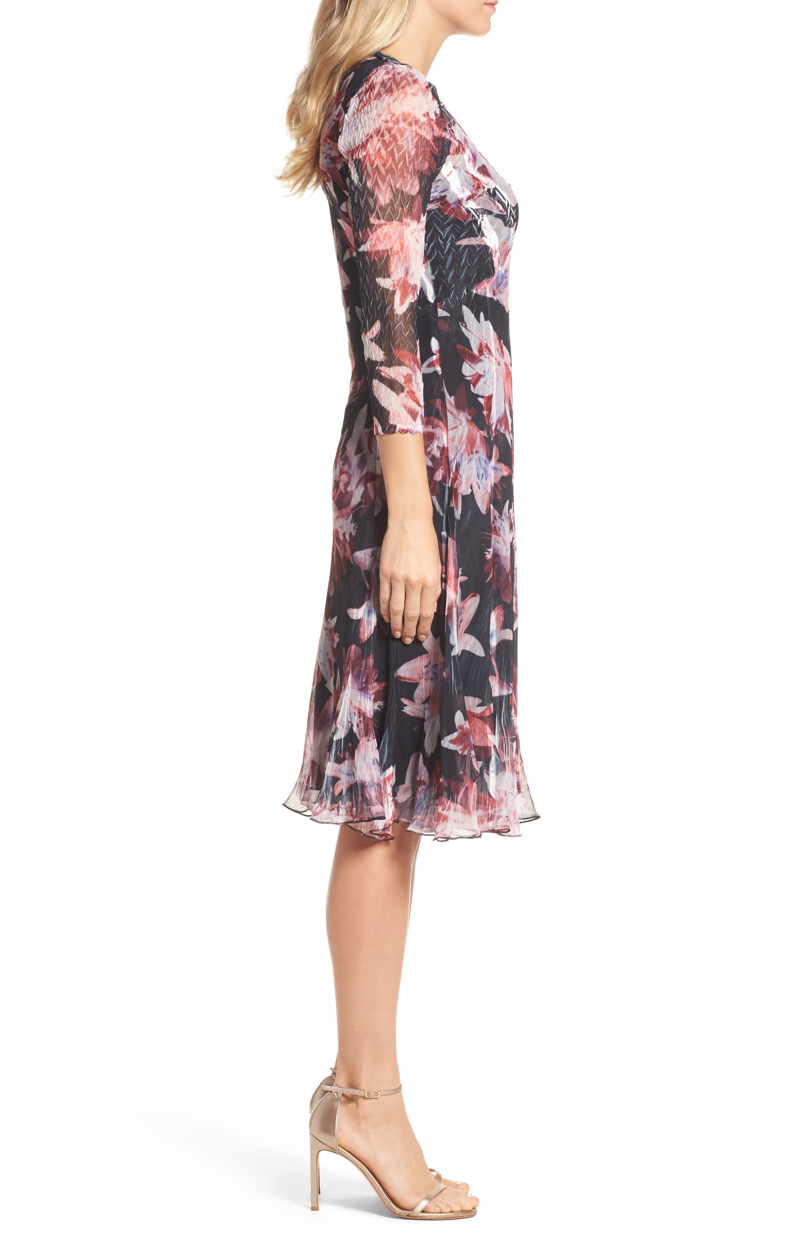 Print Chiffon A-Line Dress,                             Alternate thumbnail 3, color,                             007