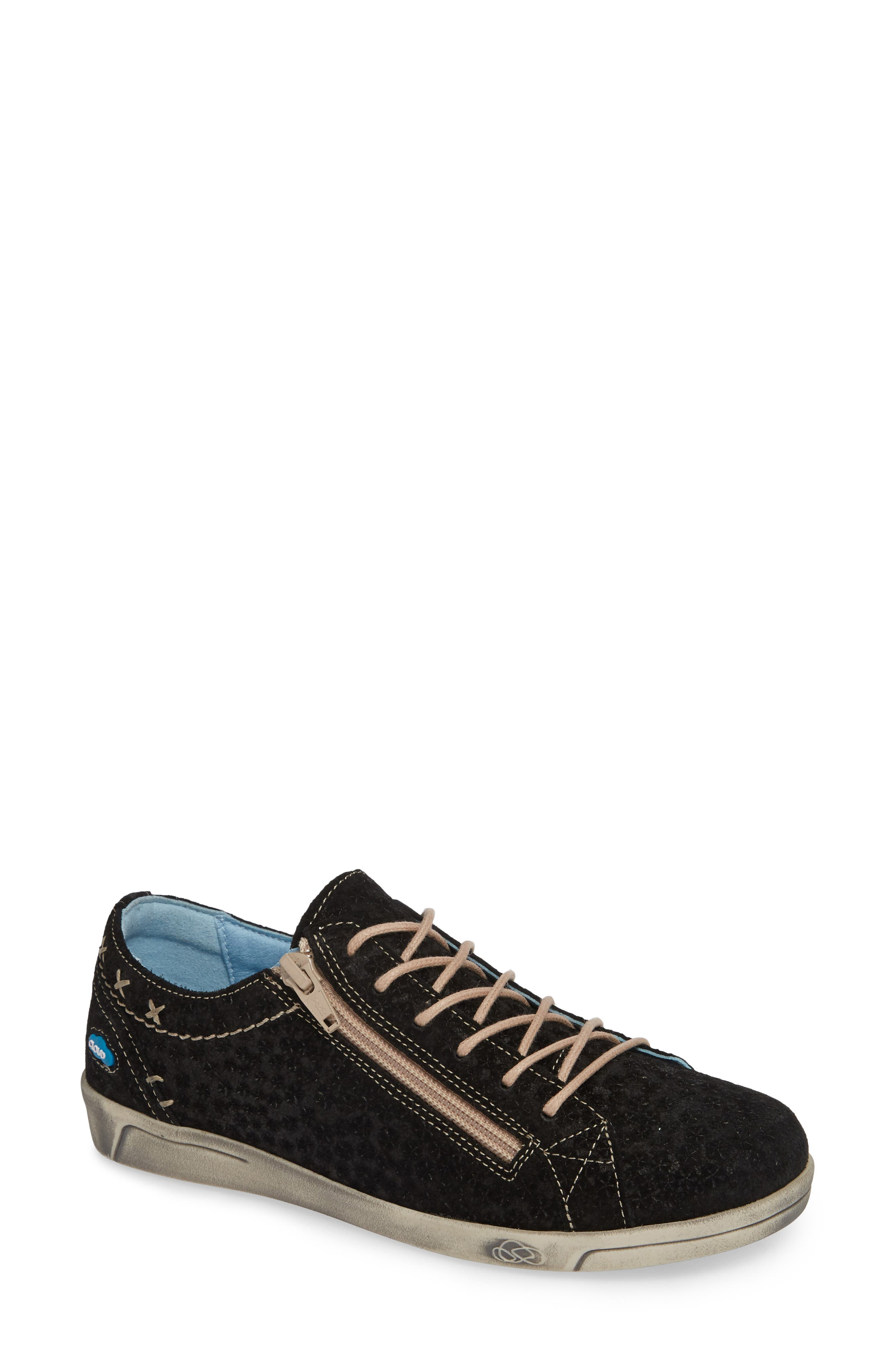 Aika Star Perforated Sneaker,                         Main,                         color, BLACK PERF LEATHER