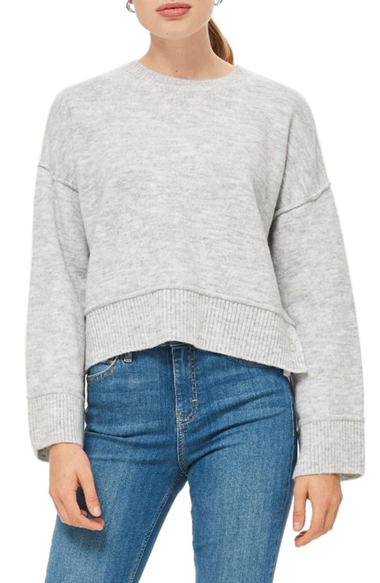 Mo Seam Detail Popper Sweater,                             Main thumbnail 1, color,                             GREY MARL