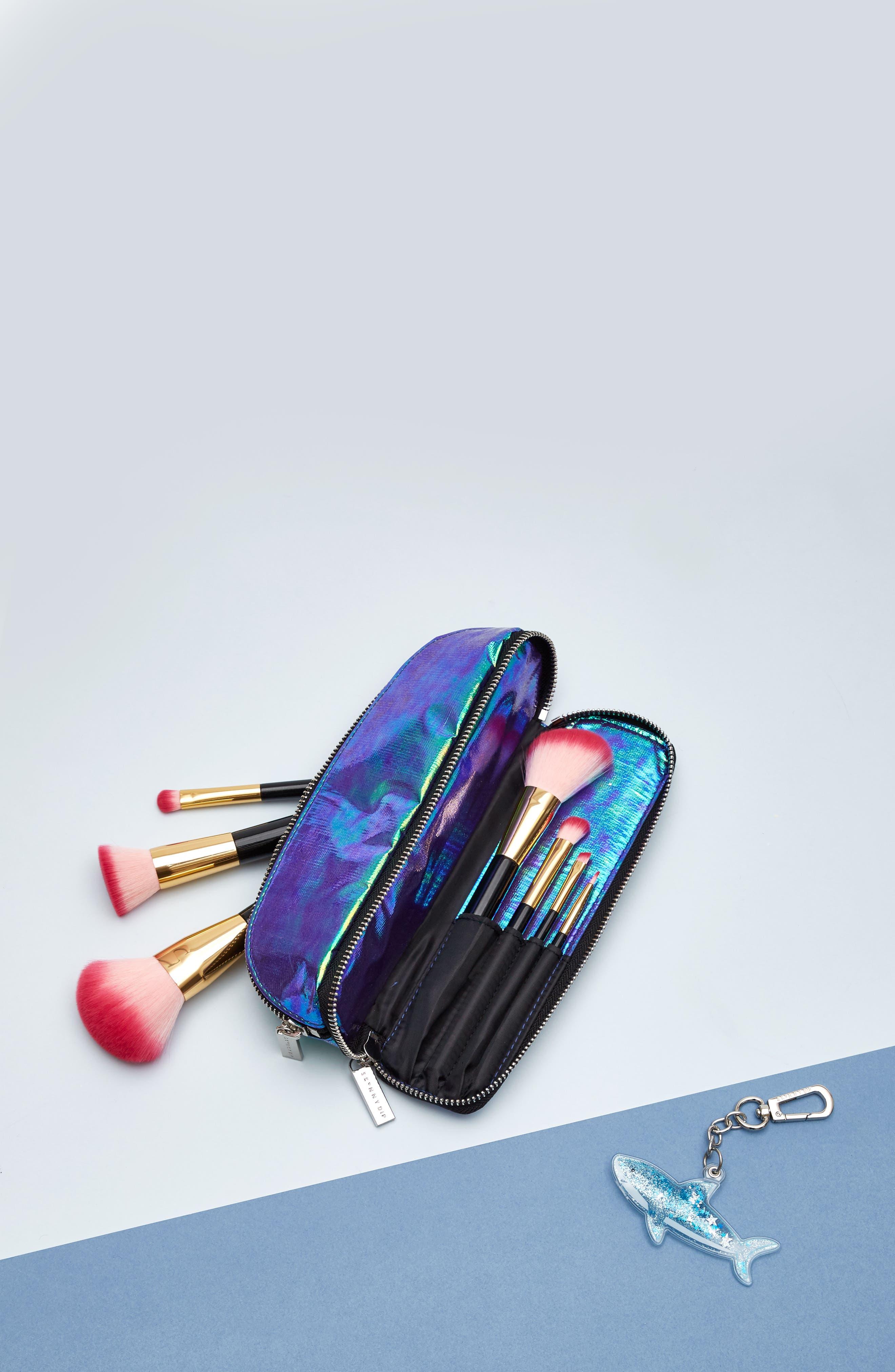 Skinny Dip Mermaid Brush Bag,                             Alternate thumbnail 6, color,                             000