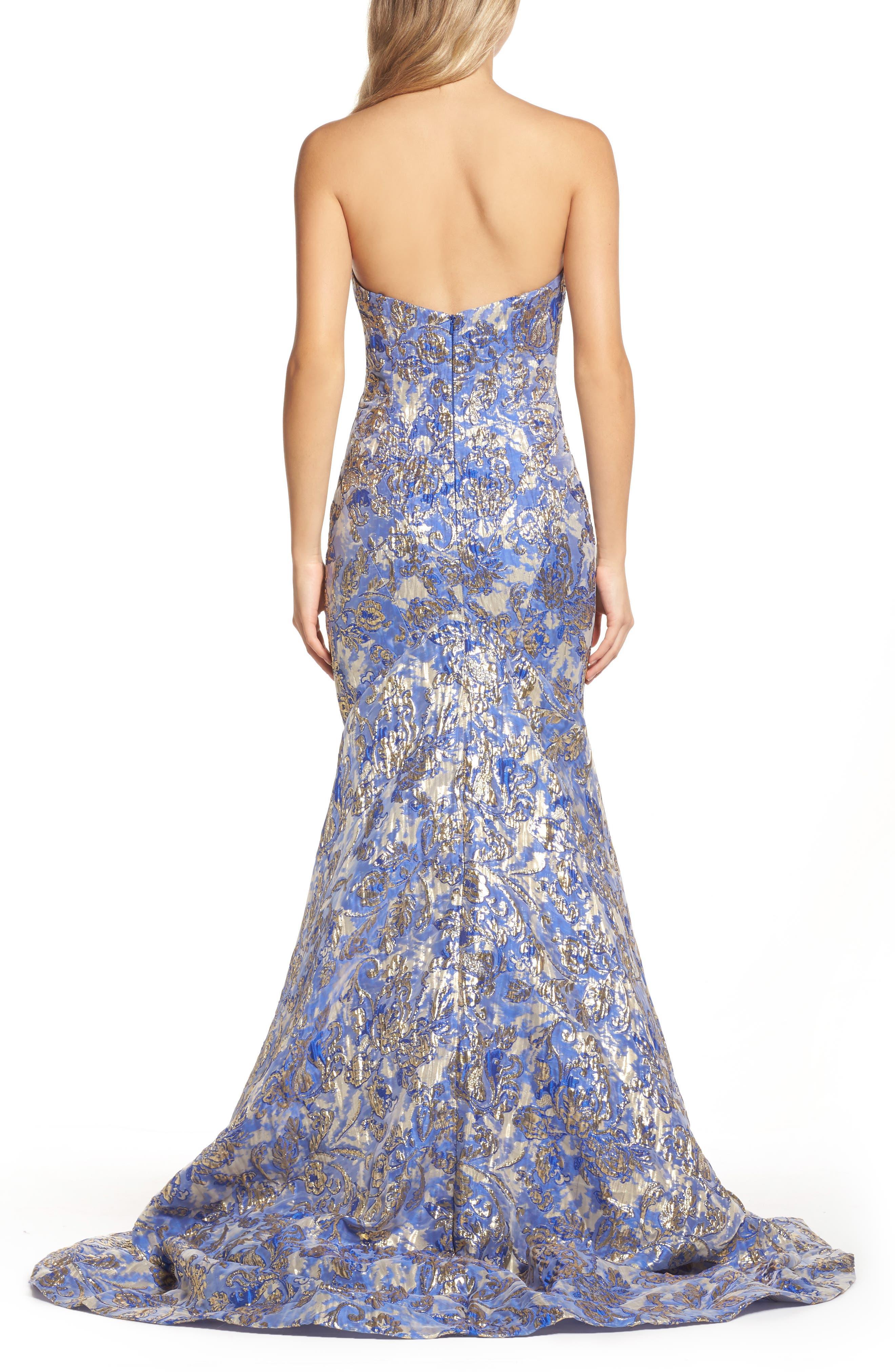 Metallic Jacquard Mermaid Gown,                             Alternate thumbnail 2, color,                             BLUE/GOLD