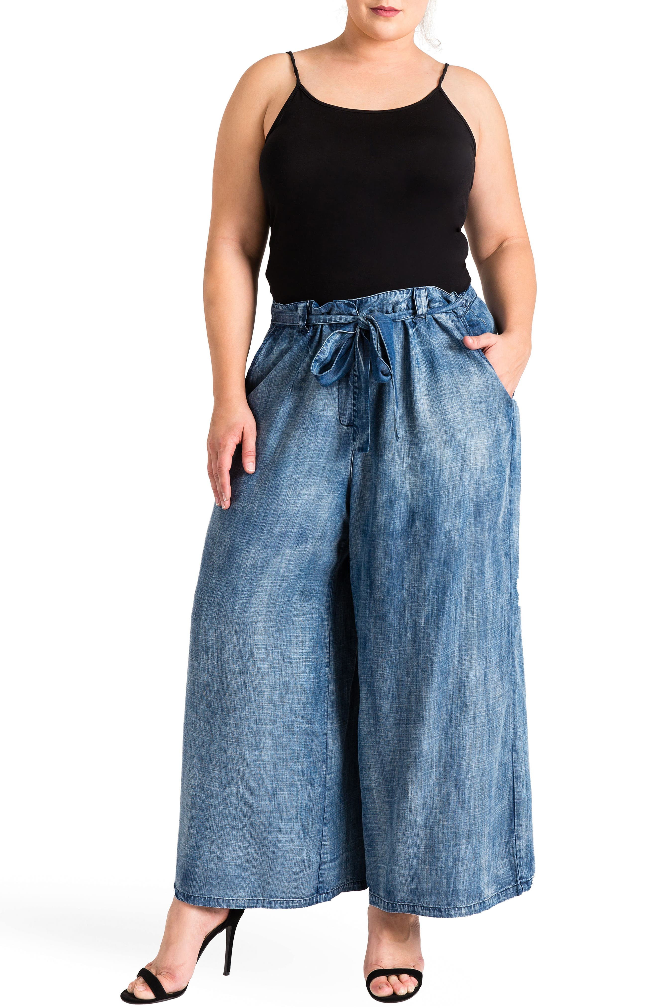 Sophi Crop Wide Leg Pants,                             Alternate thumbnail 4, color,                             MEDIUM BLUE