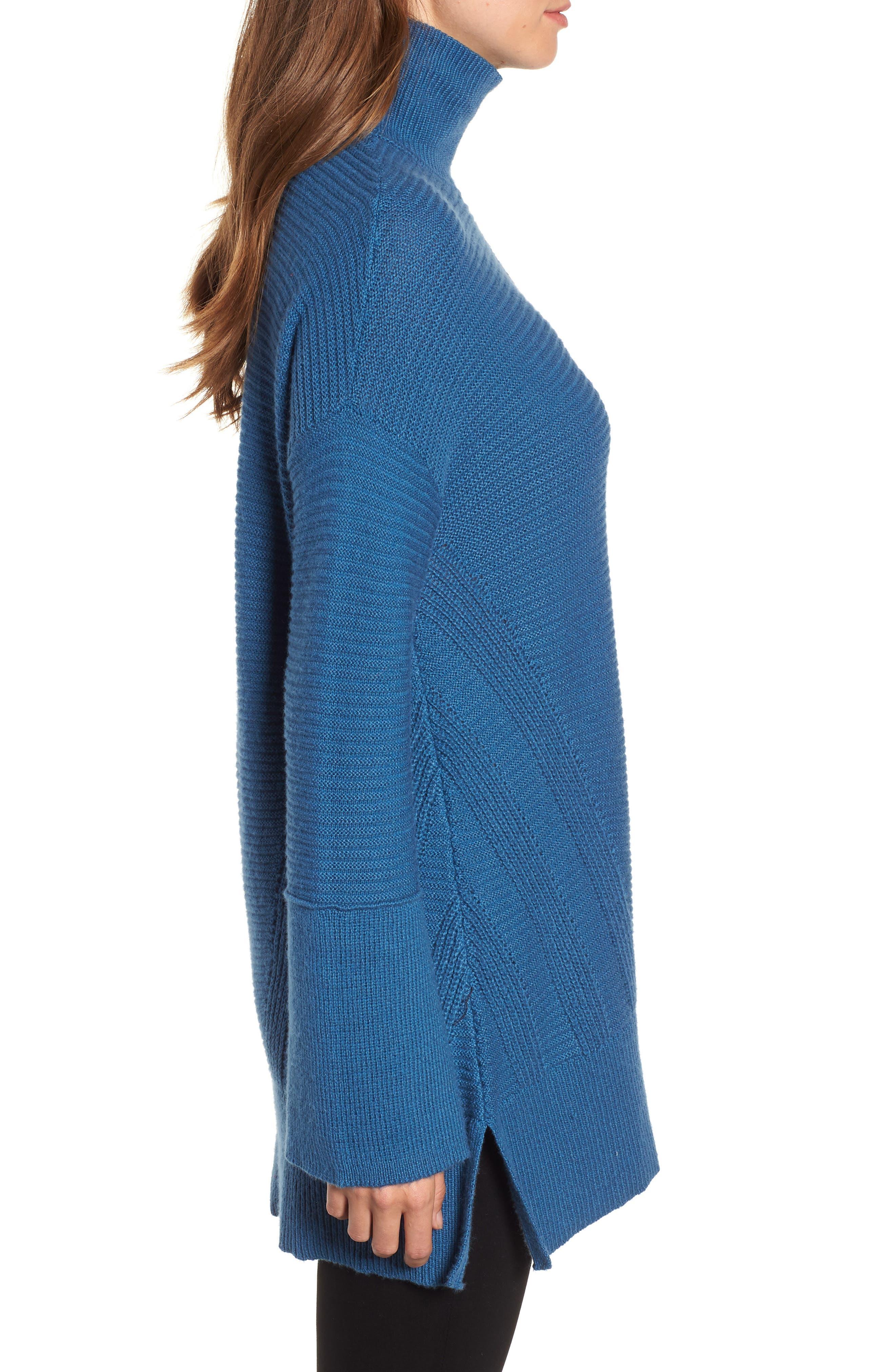 Ribbed Turtleneck Tunic Sweater,                             Alternate thumbnail 3, color,                             BLUE DARK
