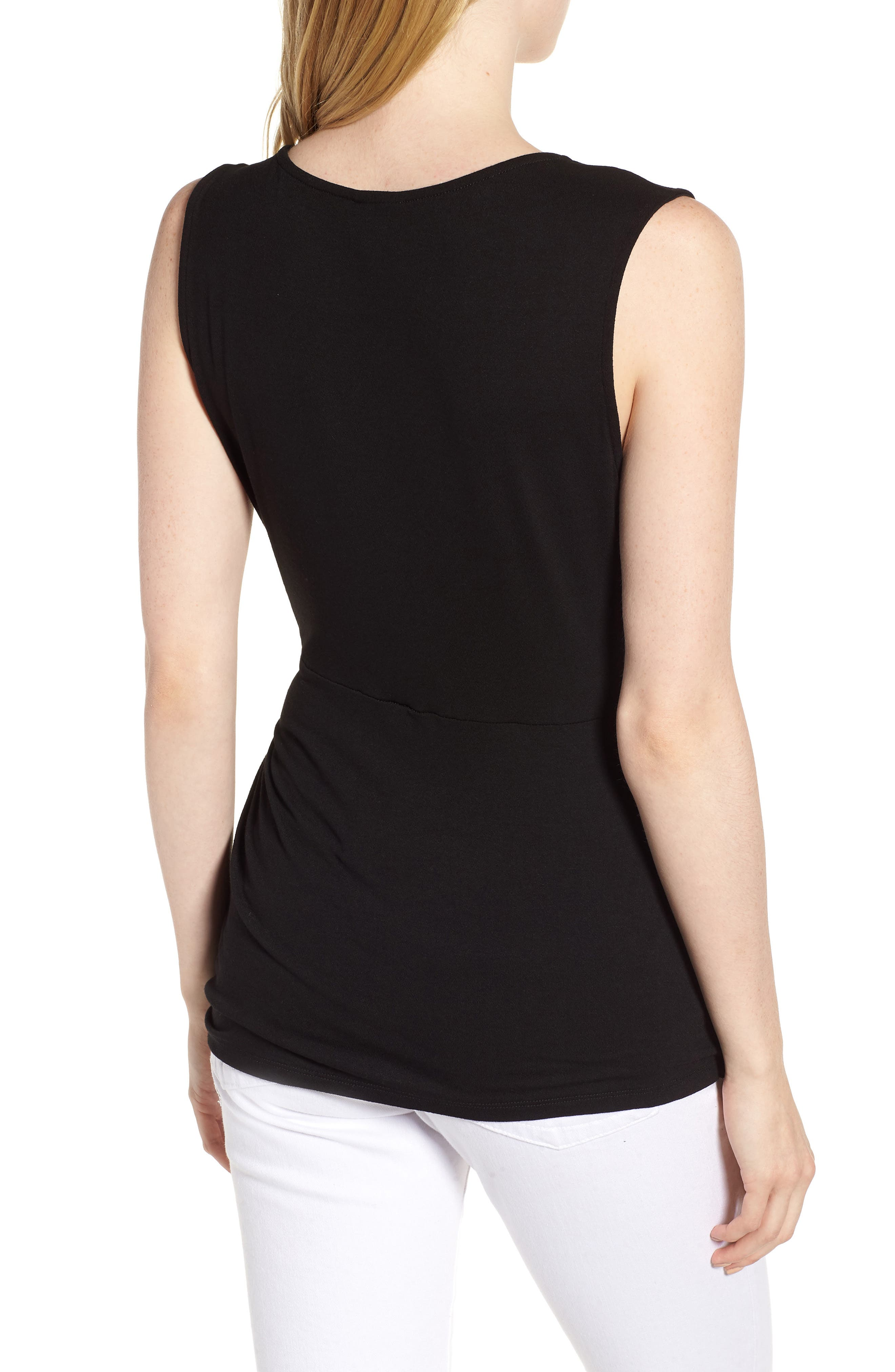 Side Knot Ruched Tank Top,                             Alternate thumbnail 2, color,                             001