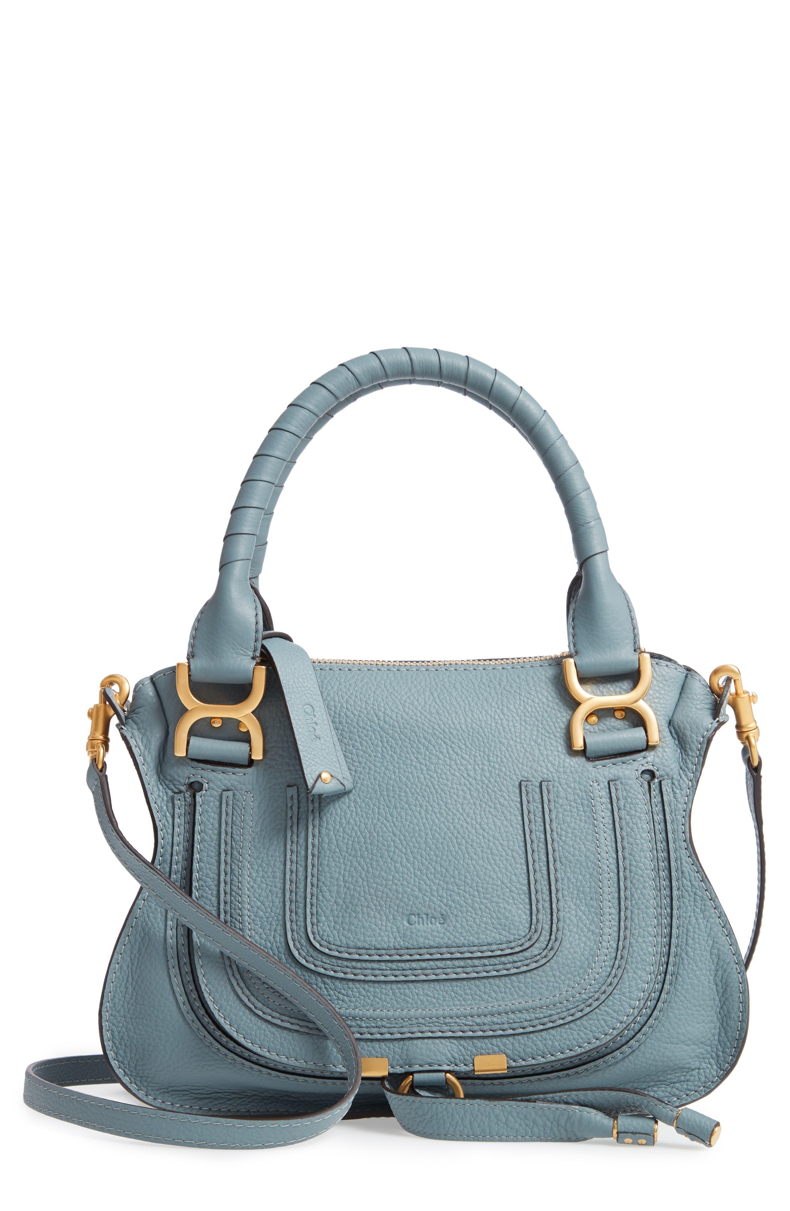 Small Marcie Calfskin Leather Satchel,                             Main thumbnail 1, color,                             CLOUDY BLUE