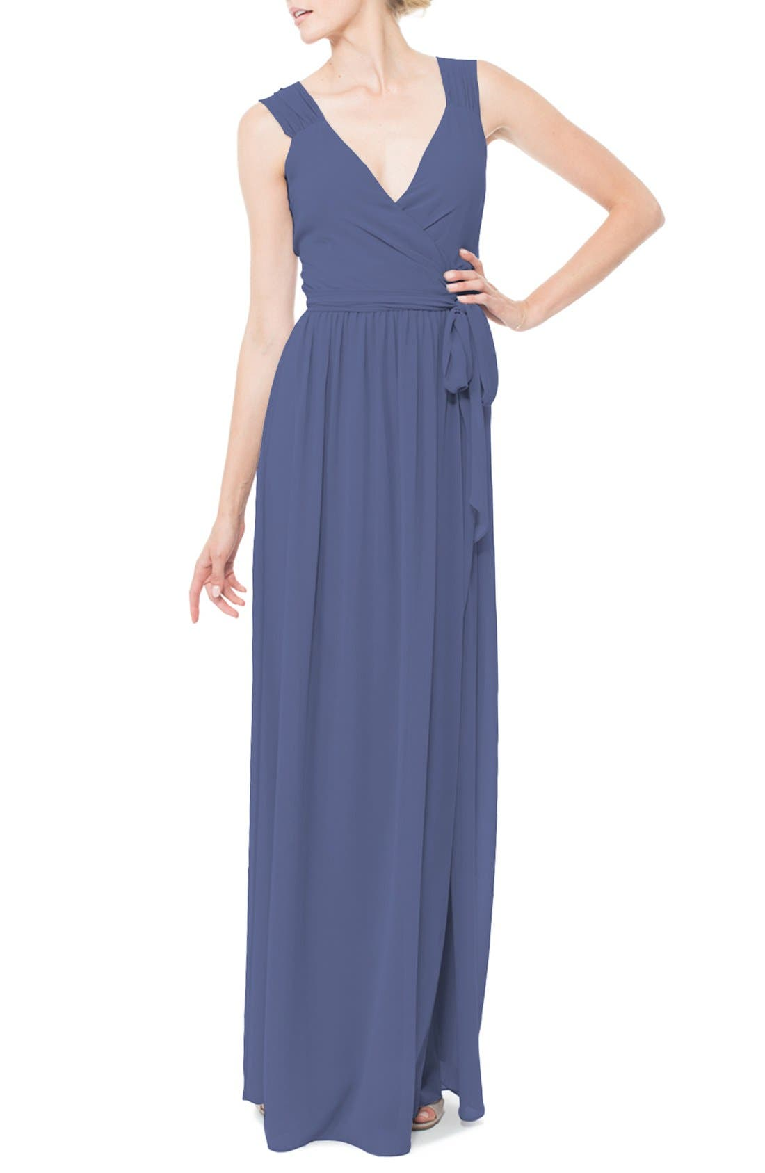 Newbury Gathered Sleeve Chiffon Wrap Gown,                             Main thumbnail 7, color,