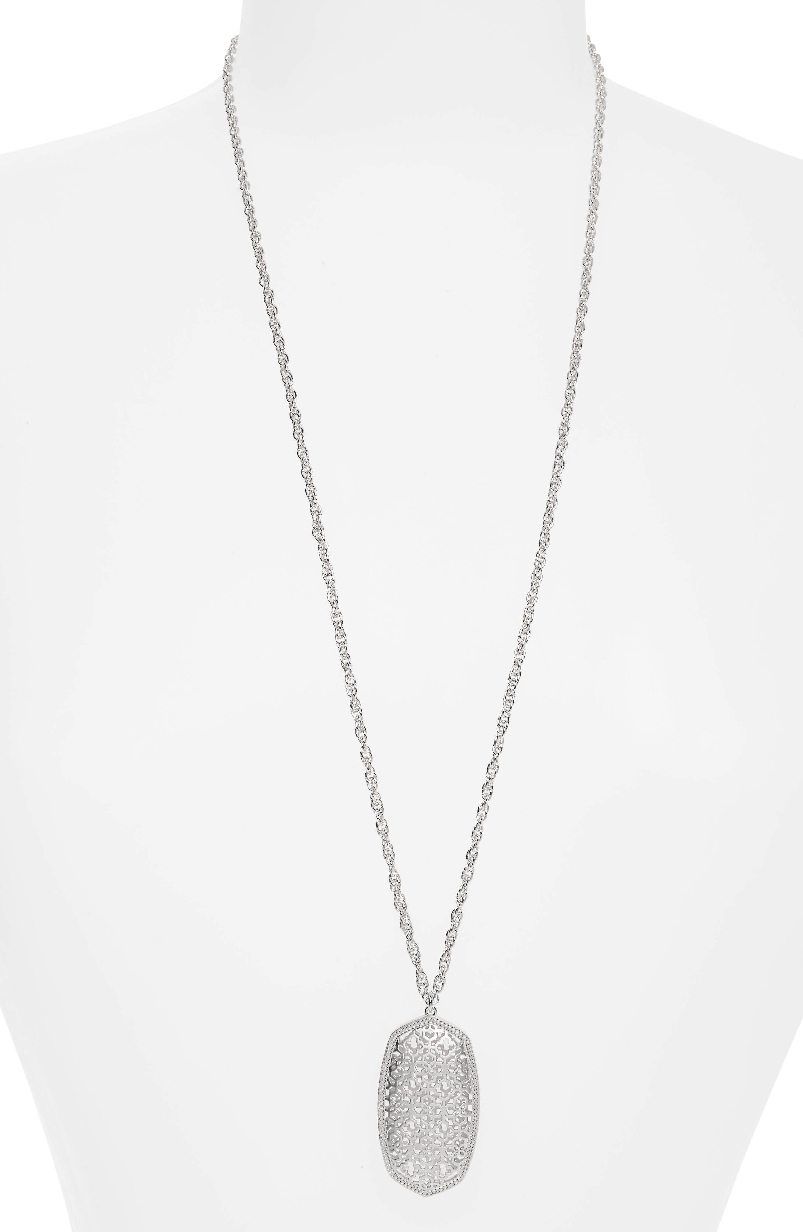 KENDRA SCOTT Rae Long Filigree Pendant Necklace, Main, color, SILVER FILIGREE