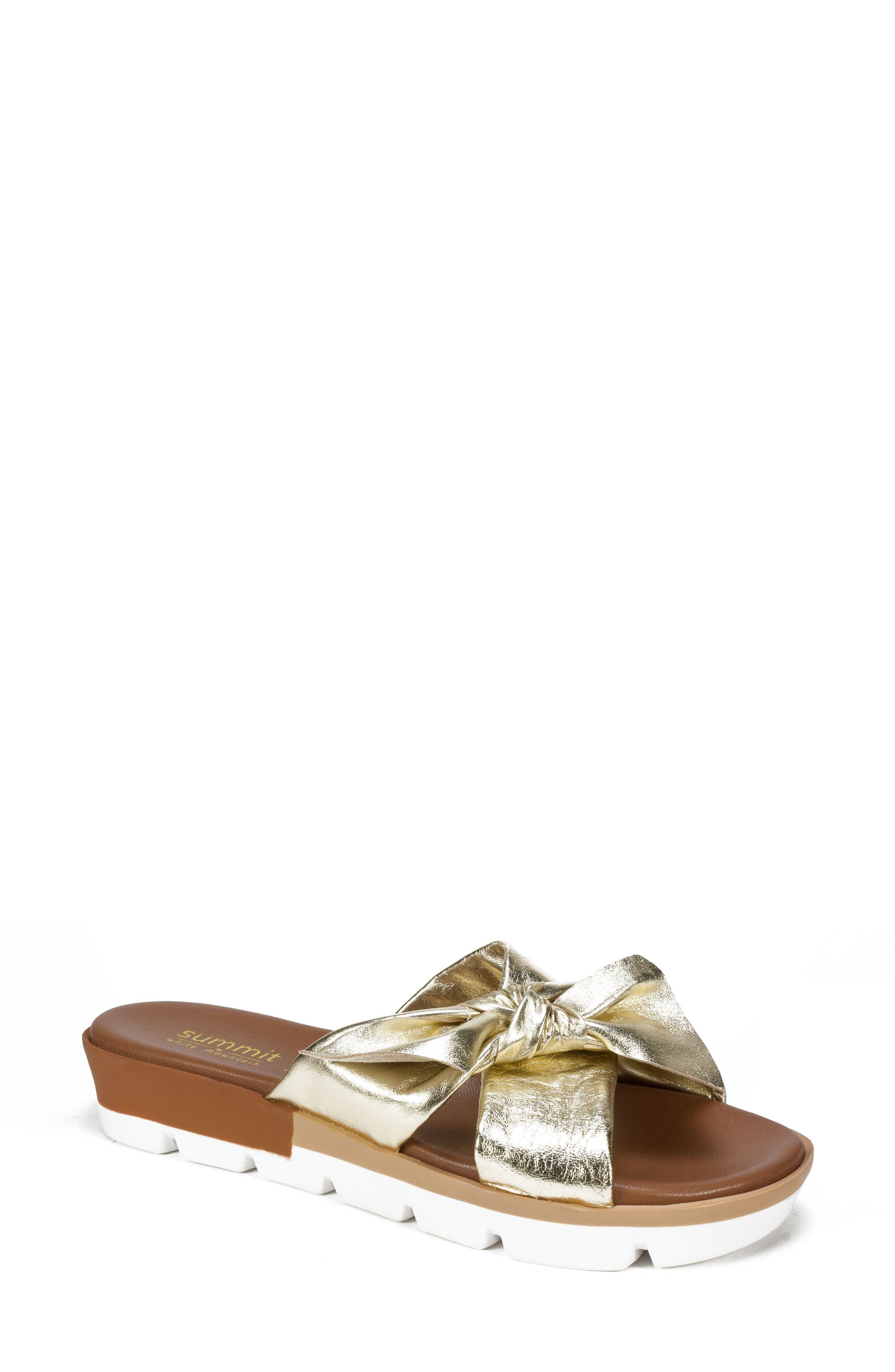 Fynn Slide Sandal,                         Main,                         color, PLATINUM LEATHER