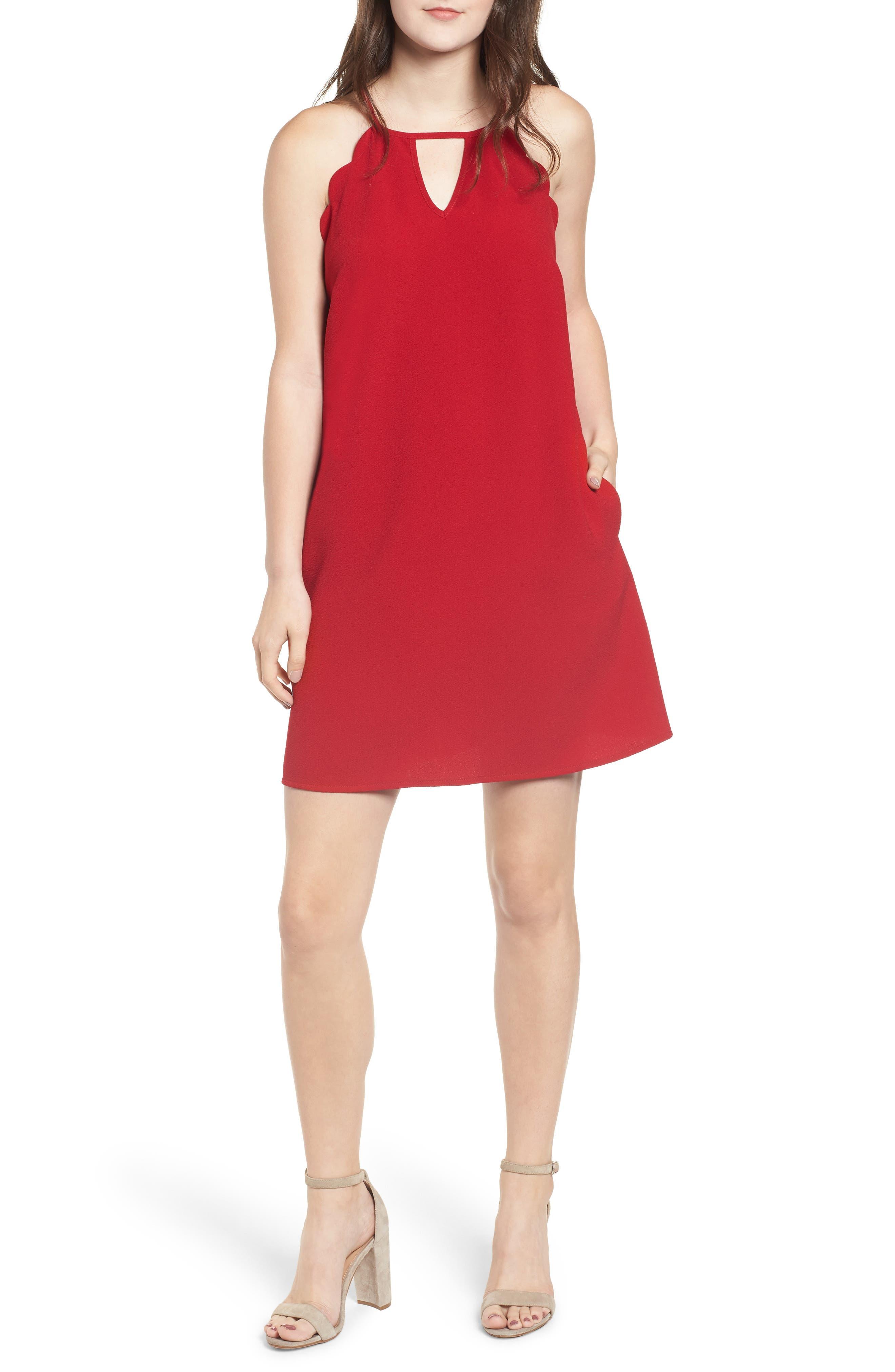 Crepe Scallop Trim Shift Dress,                             Main thumbnail 1, color,                             CHERRY