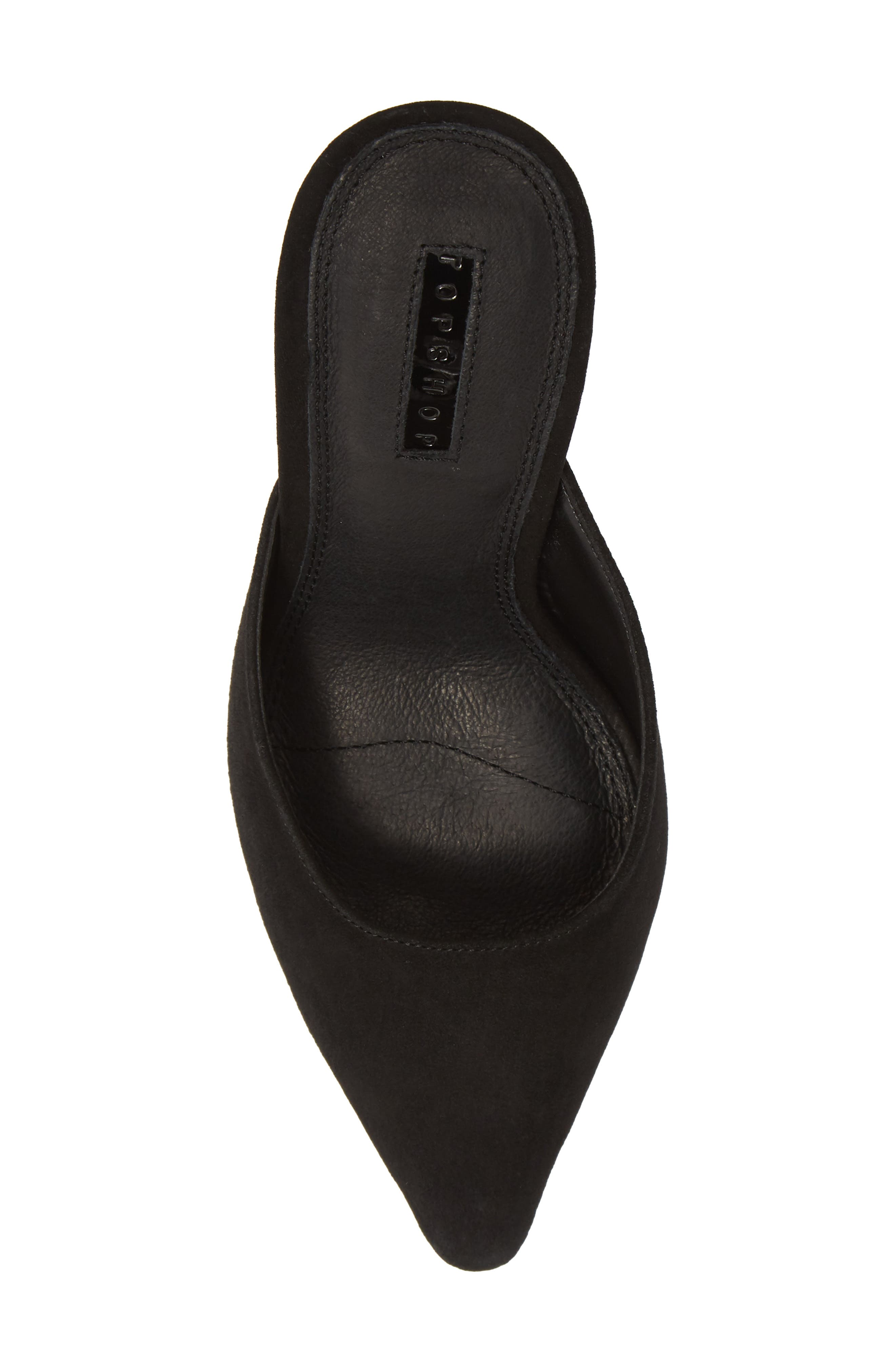 Gloss Almond Toe Mule,                             Alternate thumbnail 5, color,                             BLACK