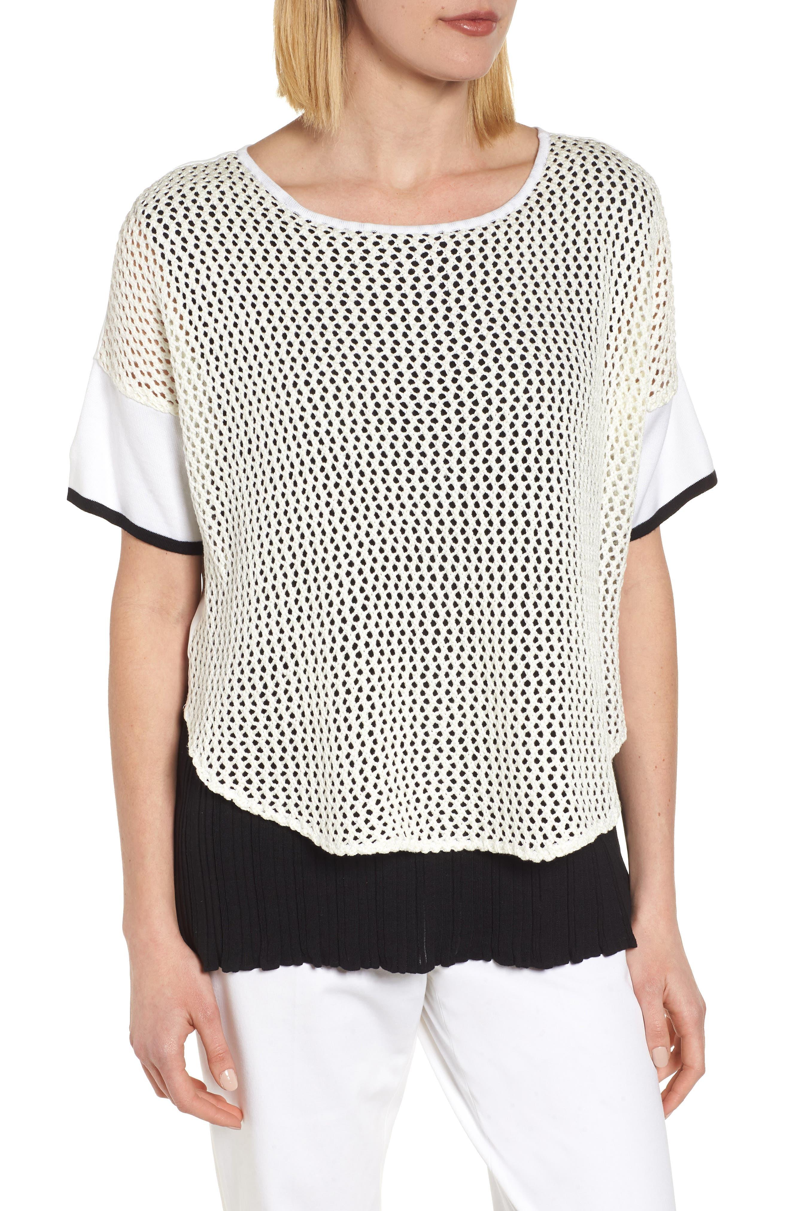 Mixed Media Short Sleeve Tunic Top,                             Main thumbnail 1, color,                             WHITE/ BLACK
