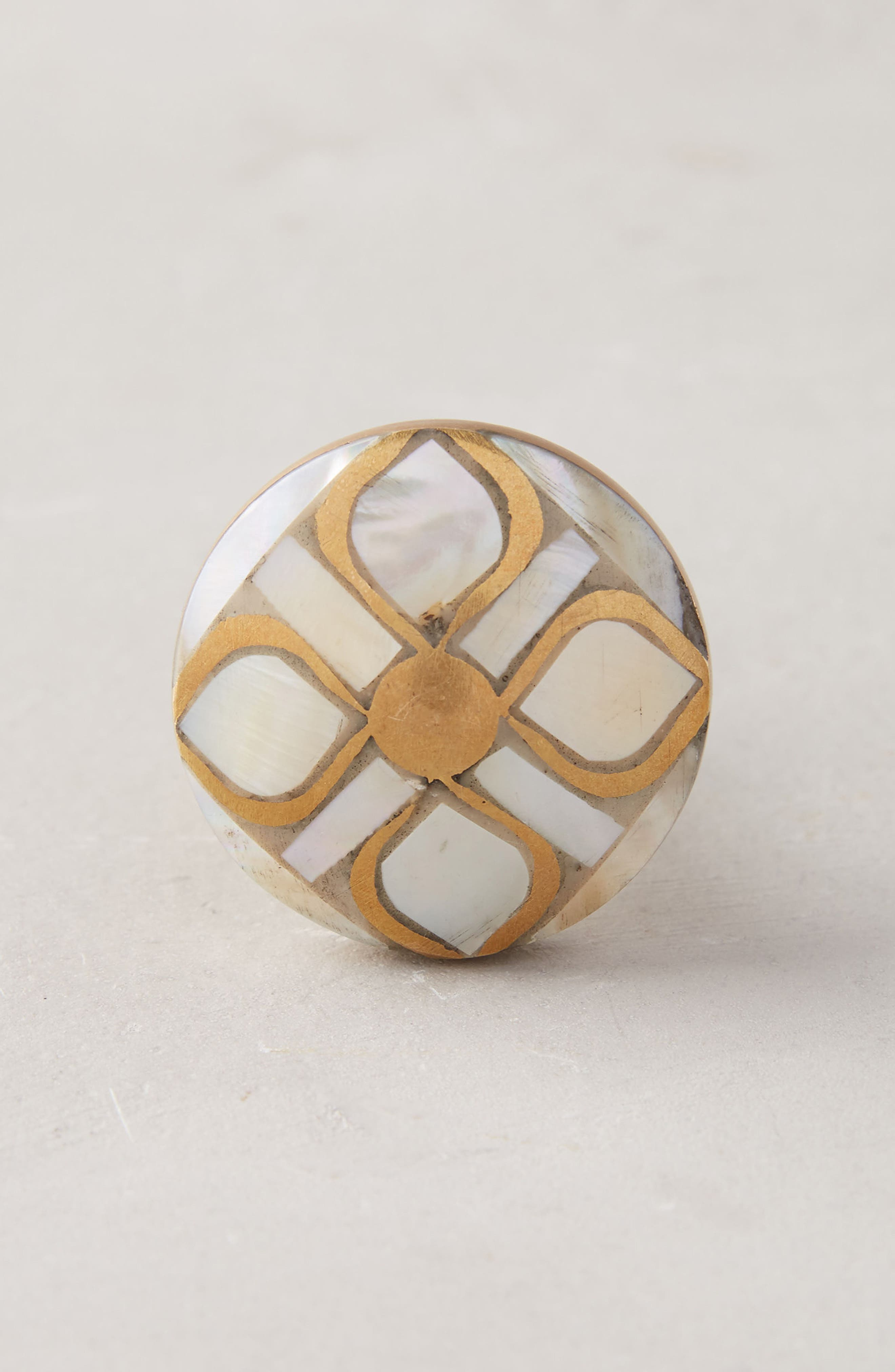 ANTHROPOLOGIE Serpentine Mother of Pearl Knob, Main, color, 250
