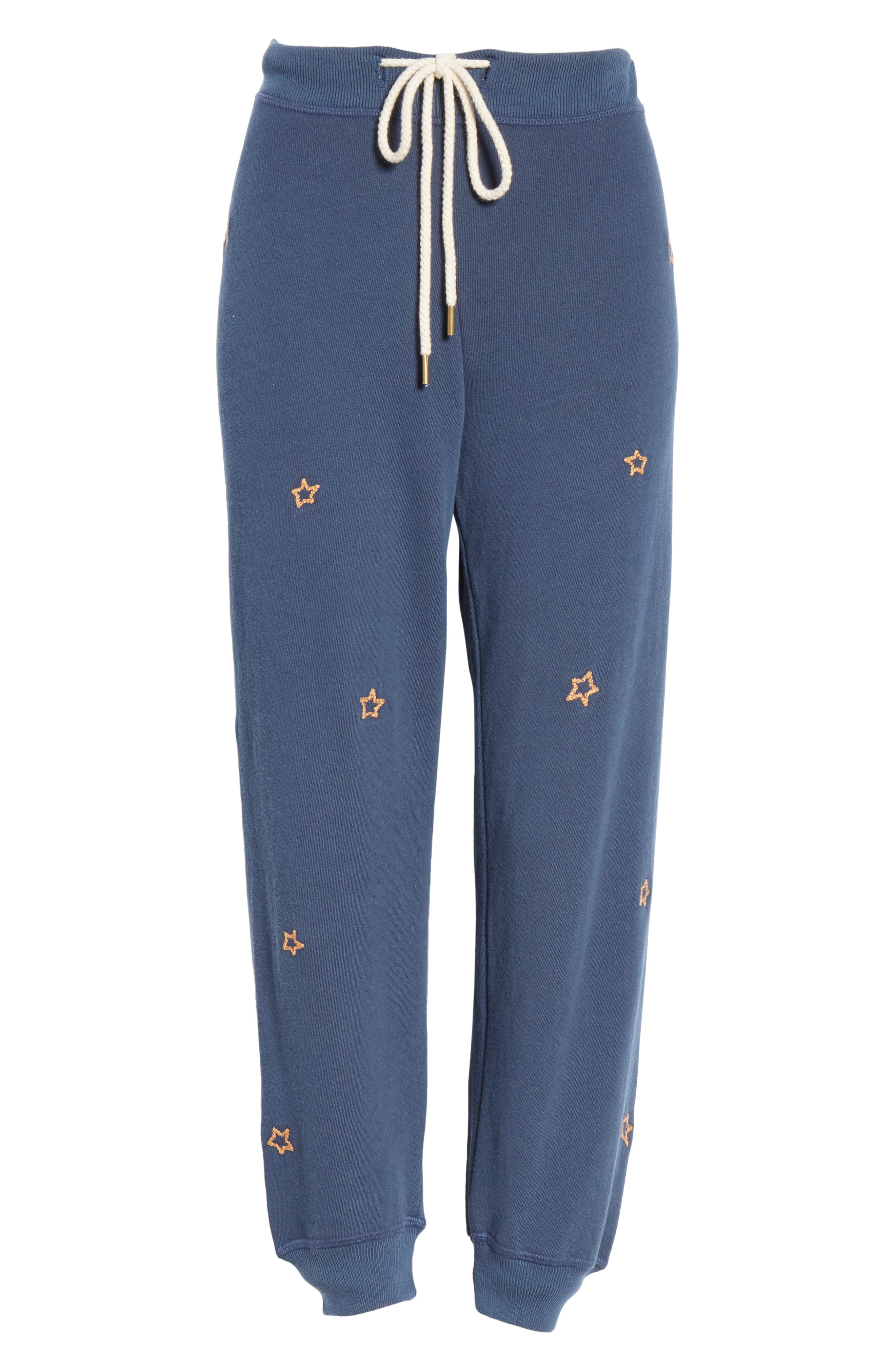The Cropped Sweatpants,                             Alternate thumbnail 6, color,                             NAVY/ STAR EMBROIDERY