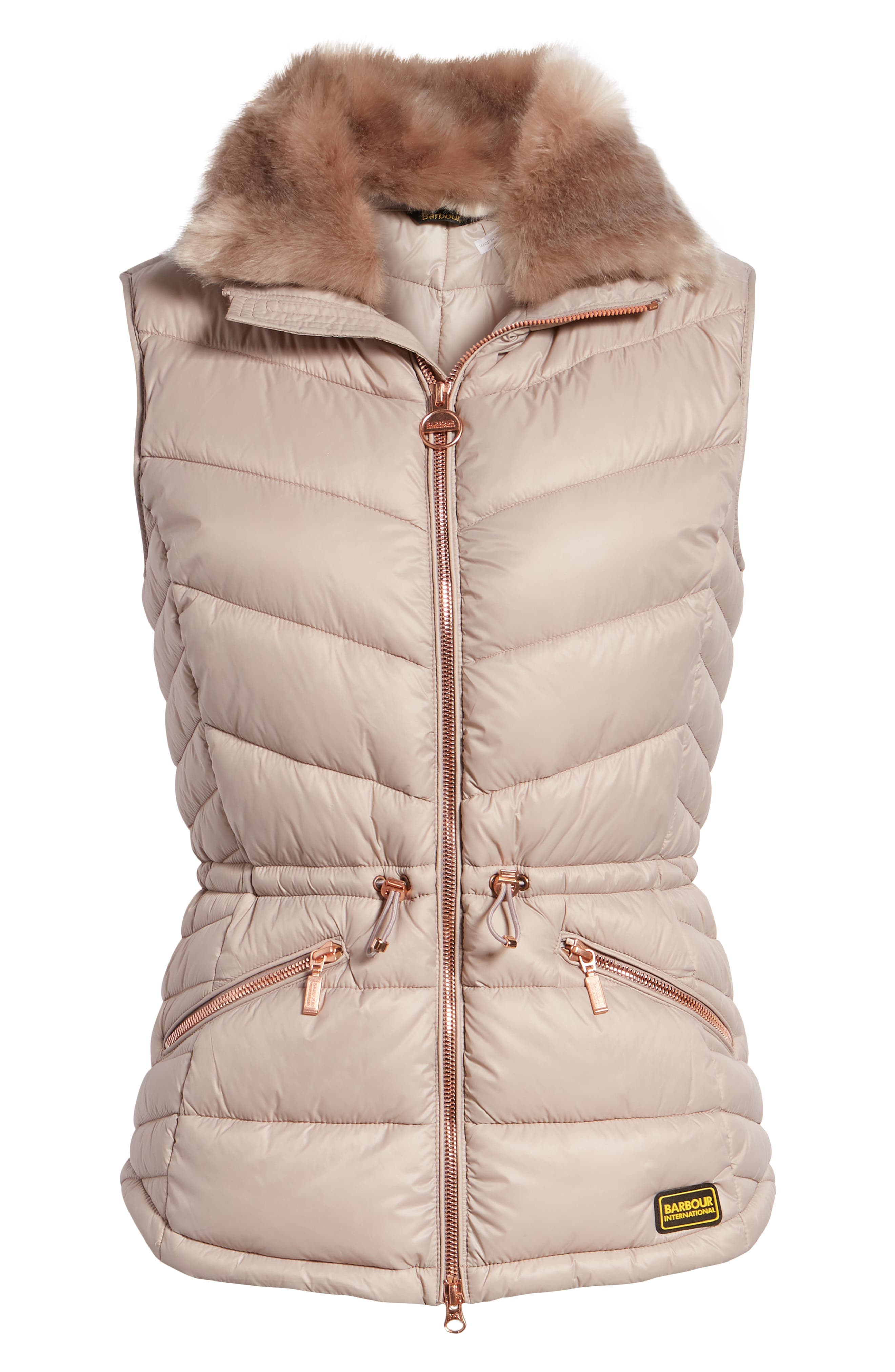 Victory Cinch Waist Chevron Quilted Gilet with Removable Faux Fur Collar,                             Alternate thumbnail 6, color,                             LATTE