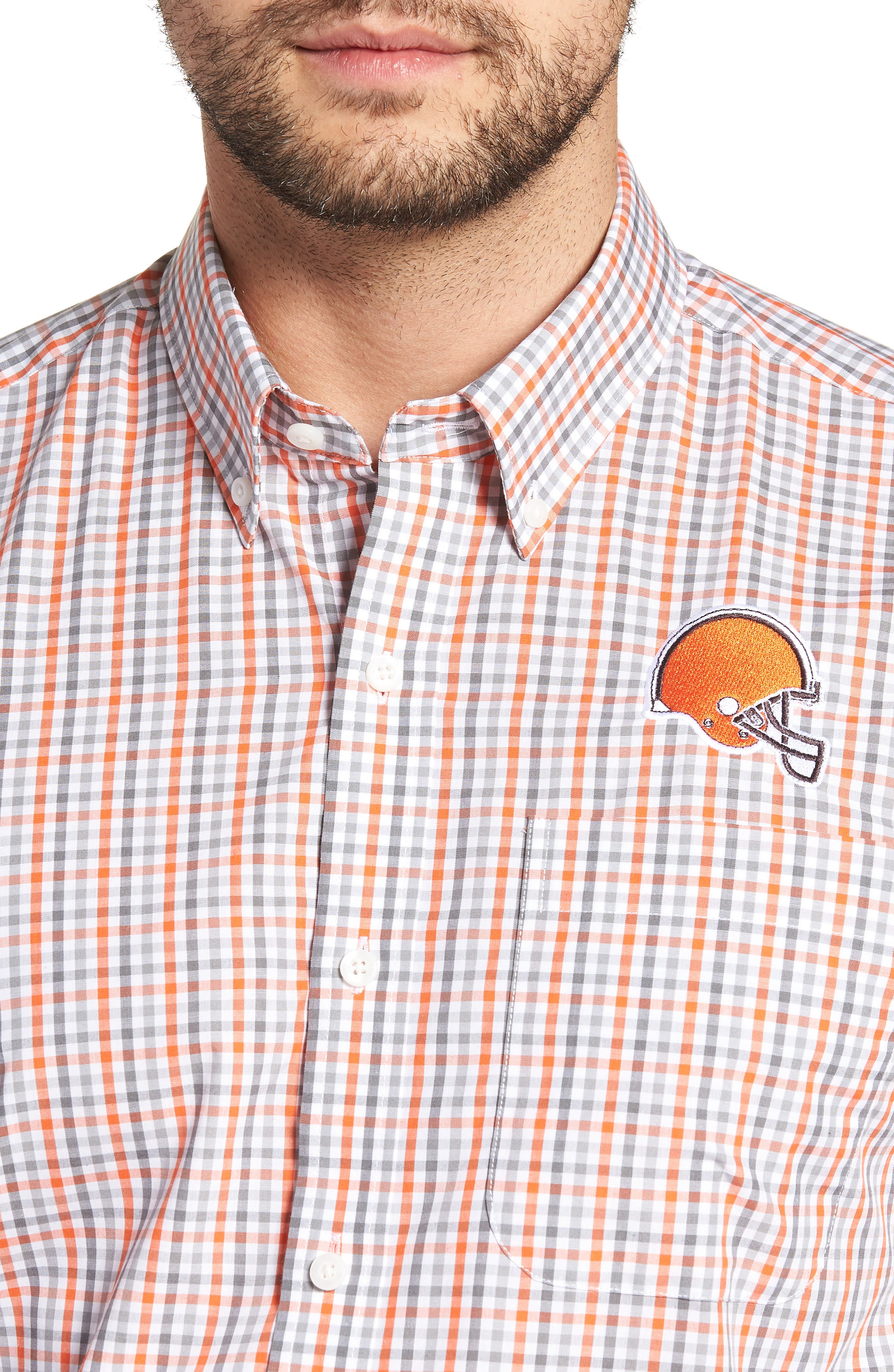 Cleveland Browns - Gilman Regular Fit Plaid Sport Shirt,                             Alternate thumbnail 4, color,                             COLLEGE ORANGE