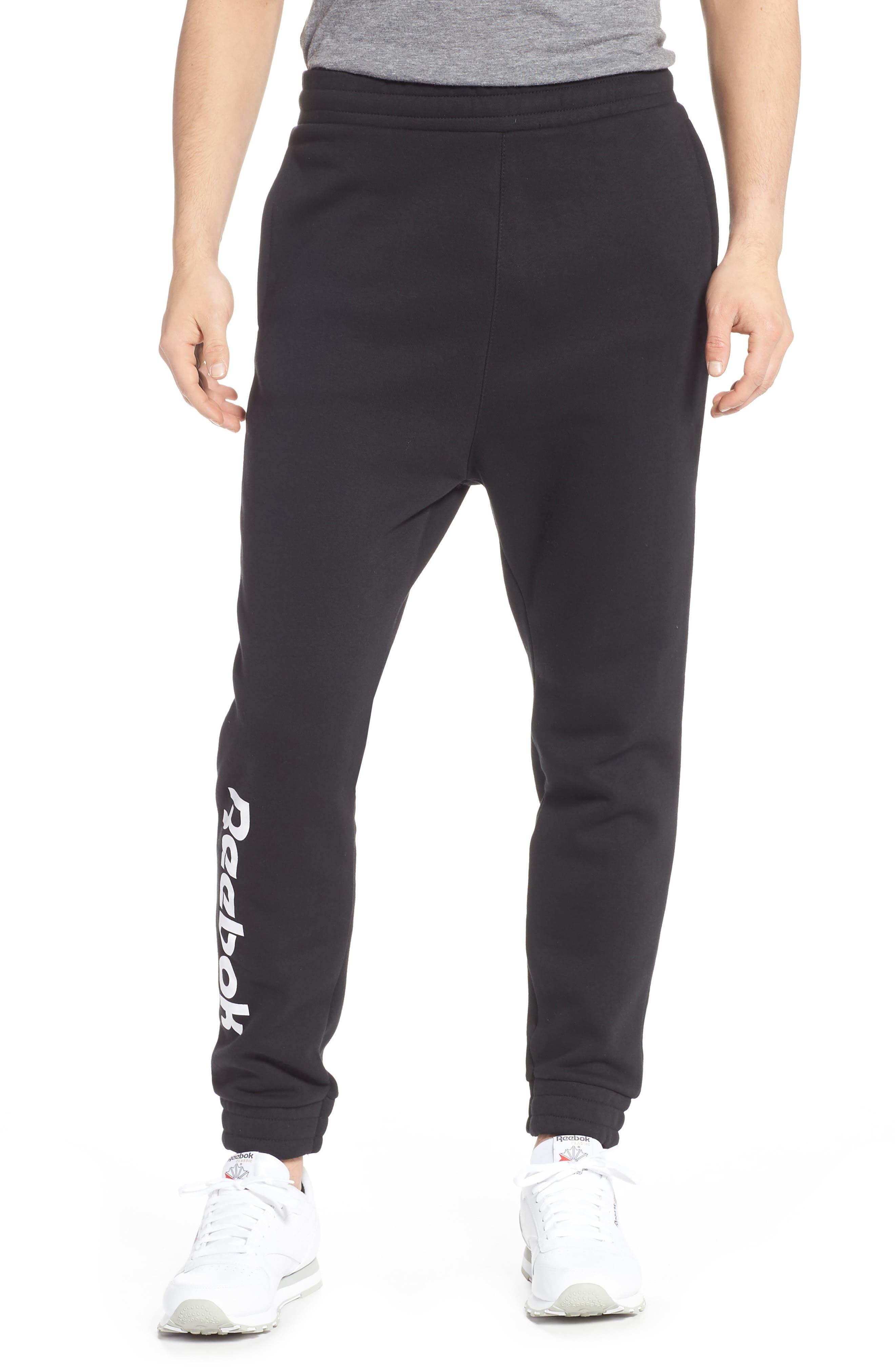REEBOK,                             Vector Logo Sweatpants,                             Main thumbnail 1, color,                             BLACK