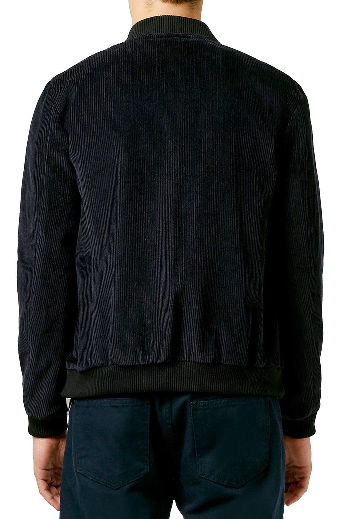 TOPMAN,                             Tailored Black Corduroy Bomber Jacket,                             Alternate thumbnail 2, color,                             001