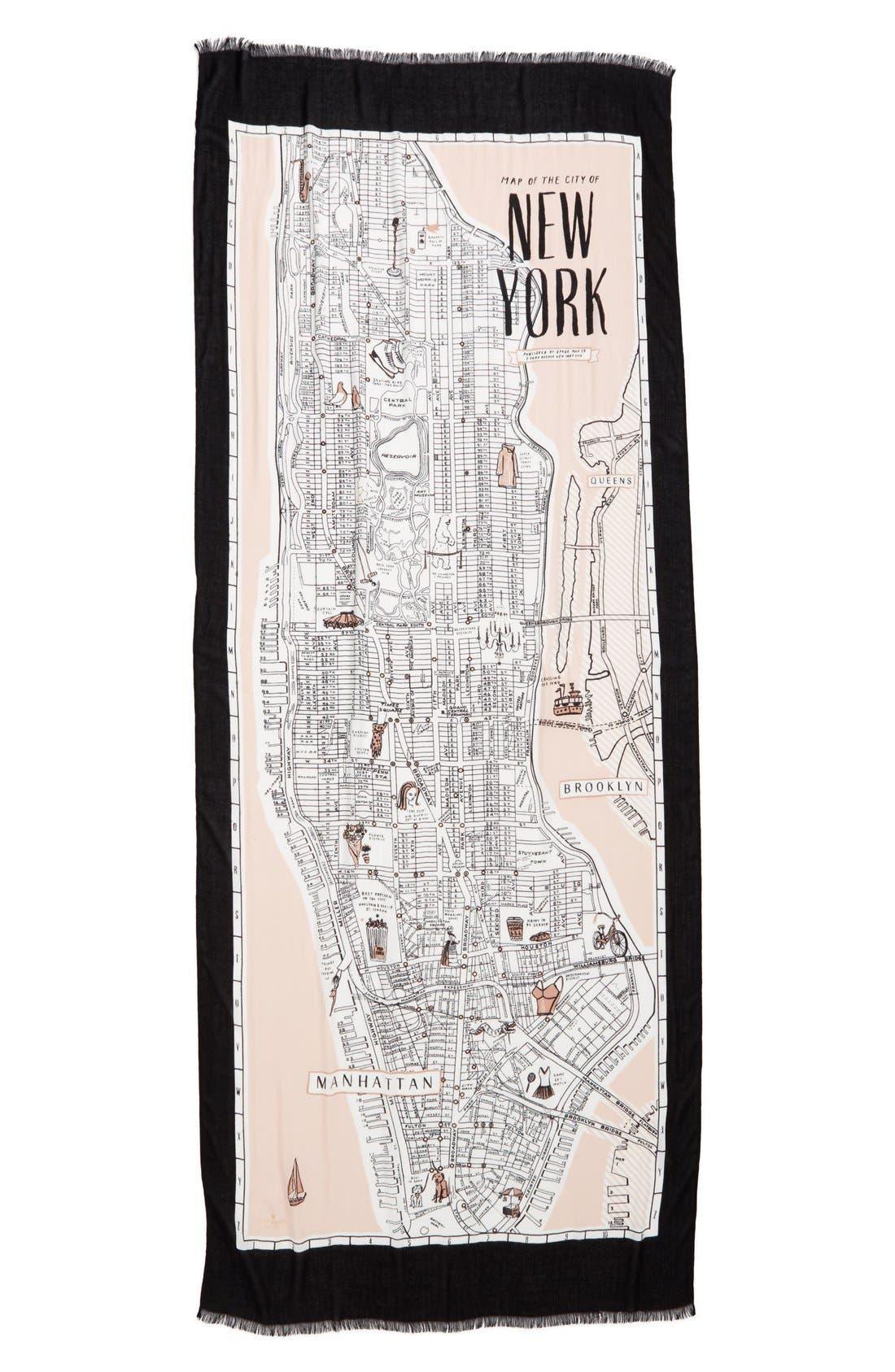 new york map print scarf,                             Alternate thumbnail 3, color,                             250