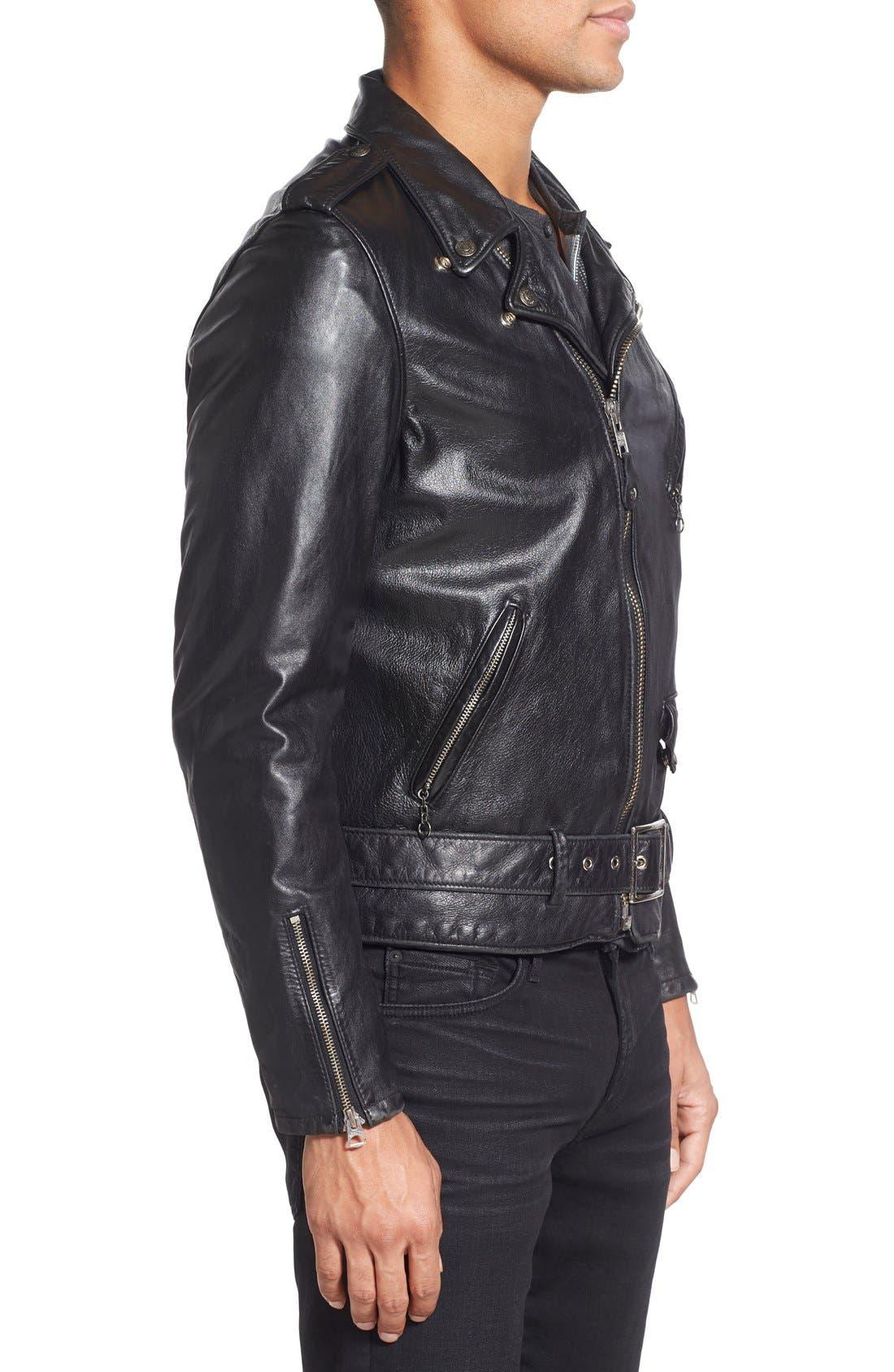 Hand Vintaged Cowhide Leather Motocycle Jacket,                             Alternate thumbnail 9, color,                             BLACK