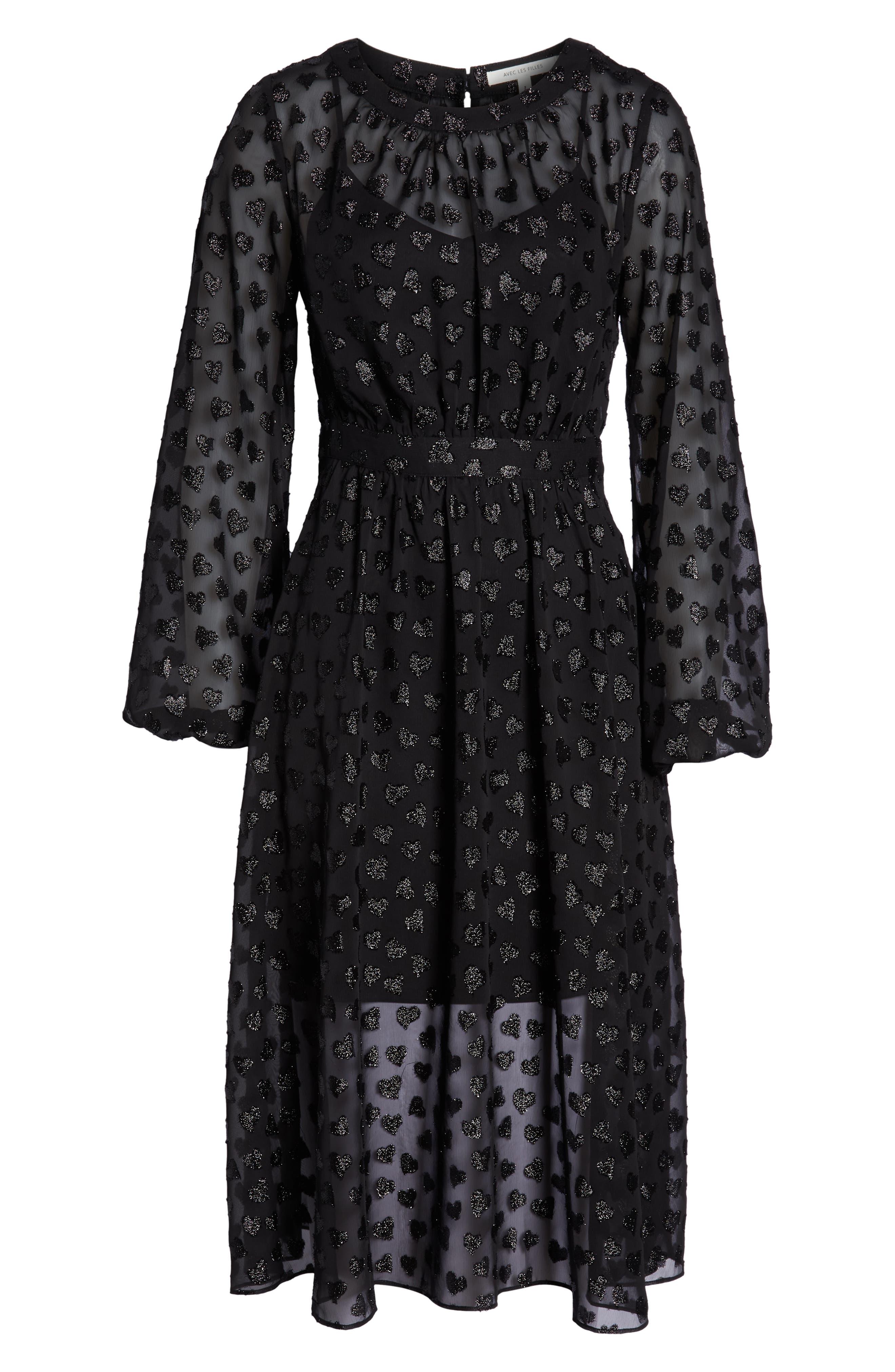 AVEC LES FILLES,                             Tea Length Metallic Mesh Dress,                             Alternate thumbnail 7, color,                             001