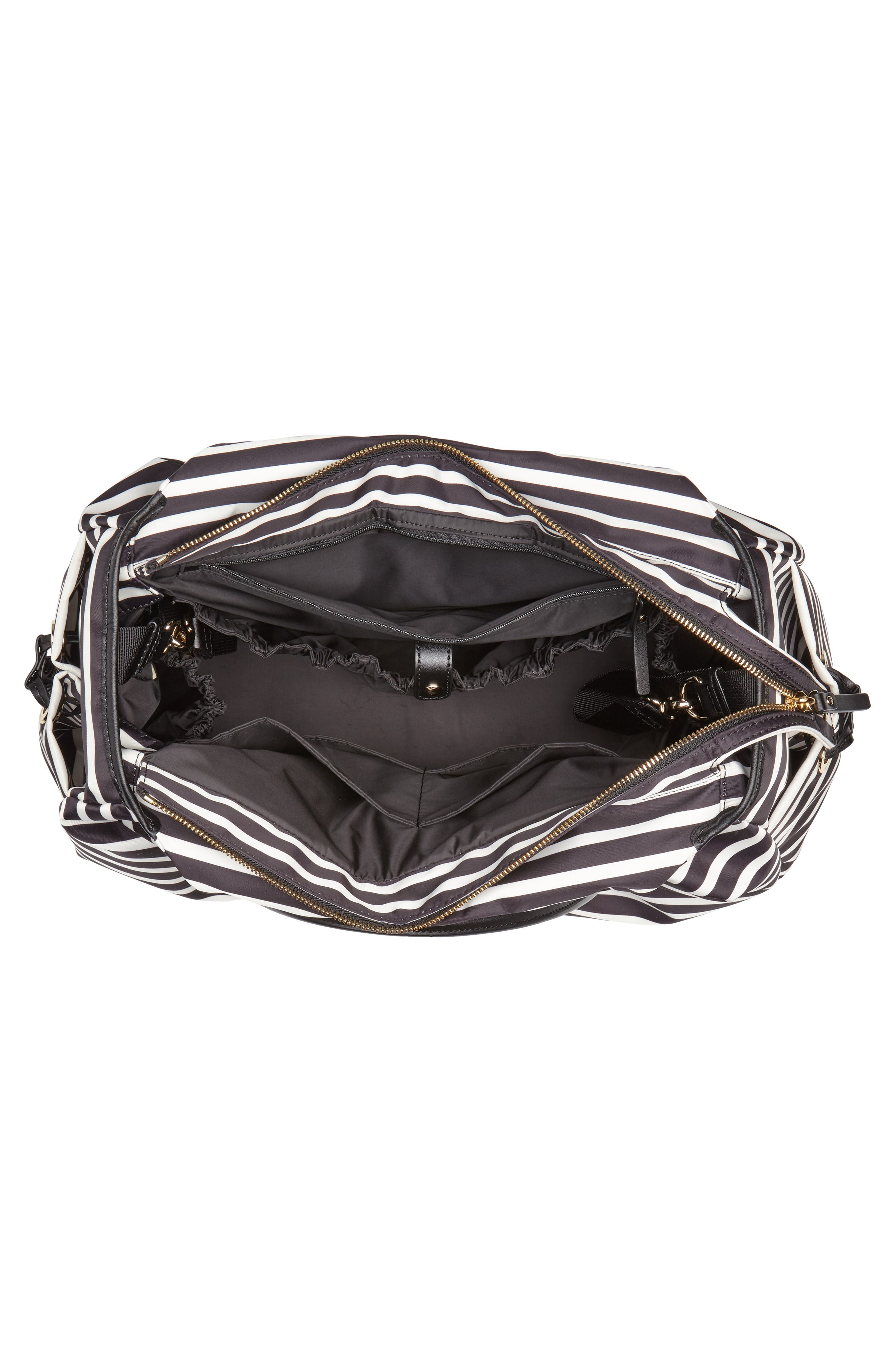 watson lane - stevie diaper bag,                             Alternate thumbnail 4, color,                             BLACK/ CLOTTED CREAM