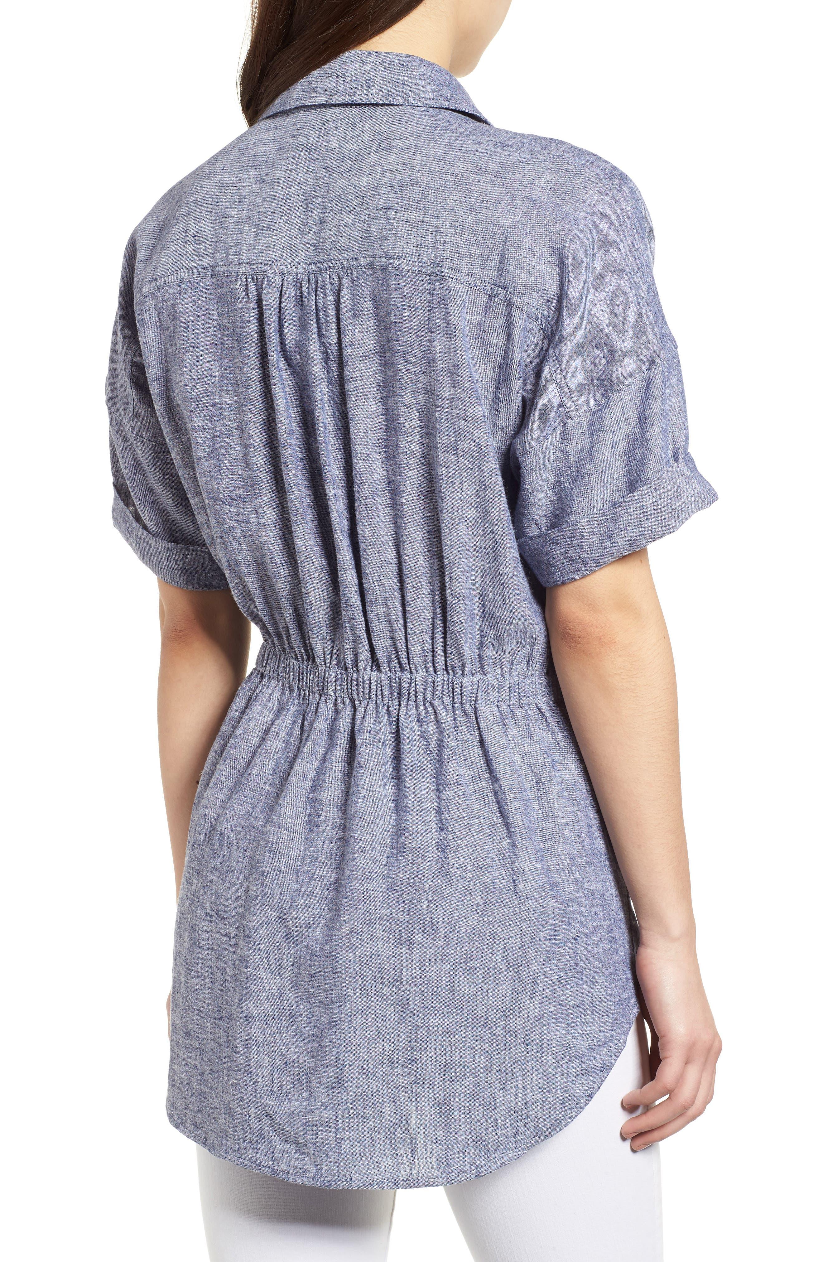 Twist Front Linen Blend Shirt,                             Alternate thumbnail 6, color,