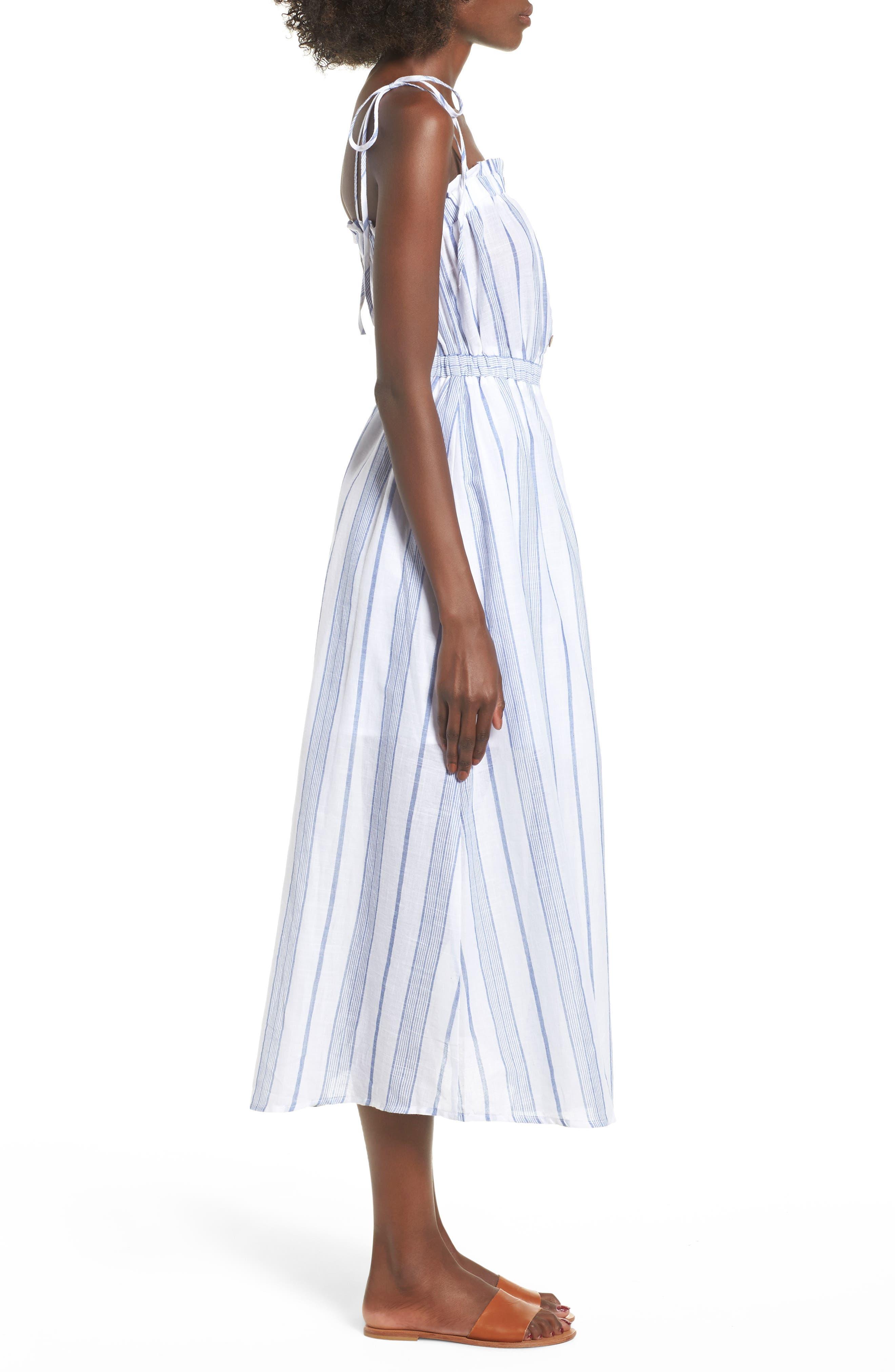 Stripe Tie Strap Dress,                             Alternate thumbnail 3, color,                             SKY STRIPE