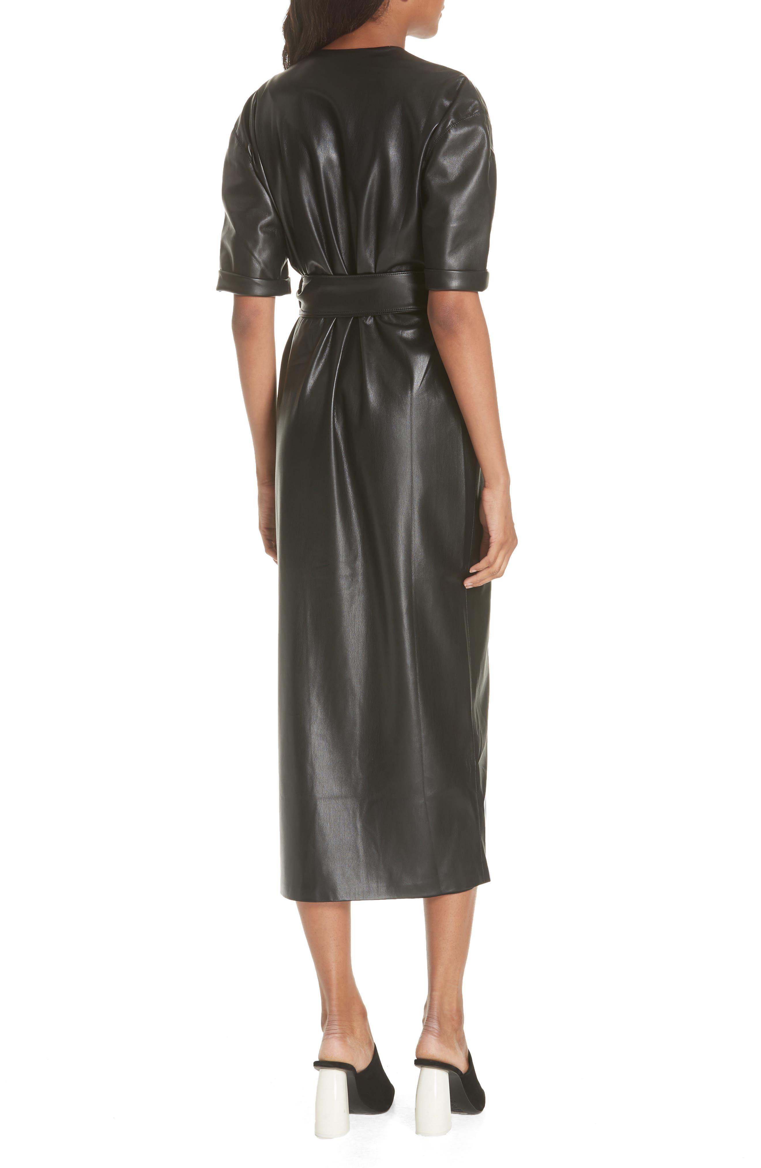 Penelope Faux Leather Wrap Dress,                             Alternate thumbnail 2, color,                             BLACK