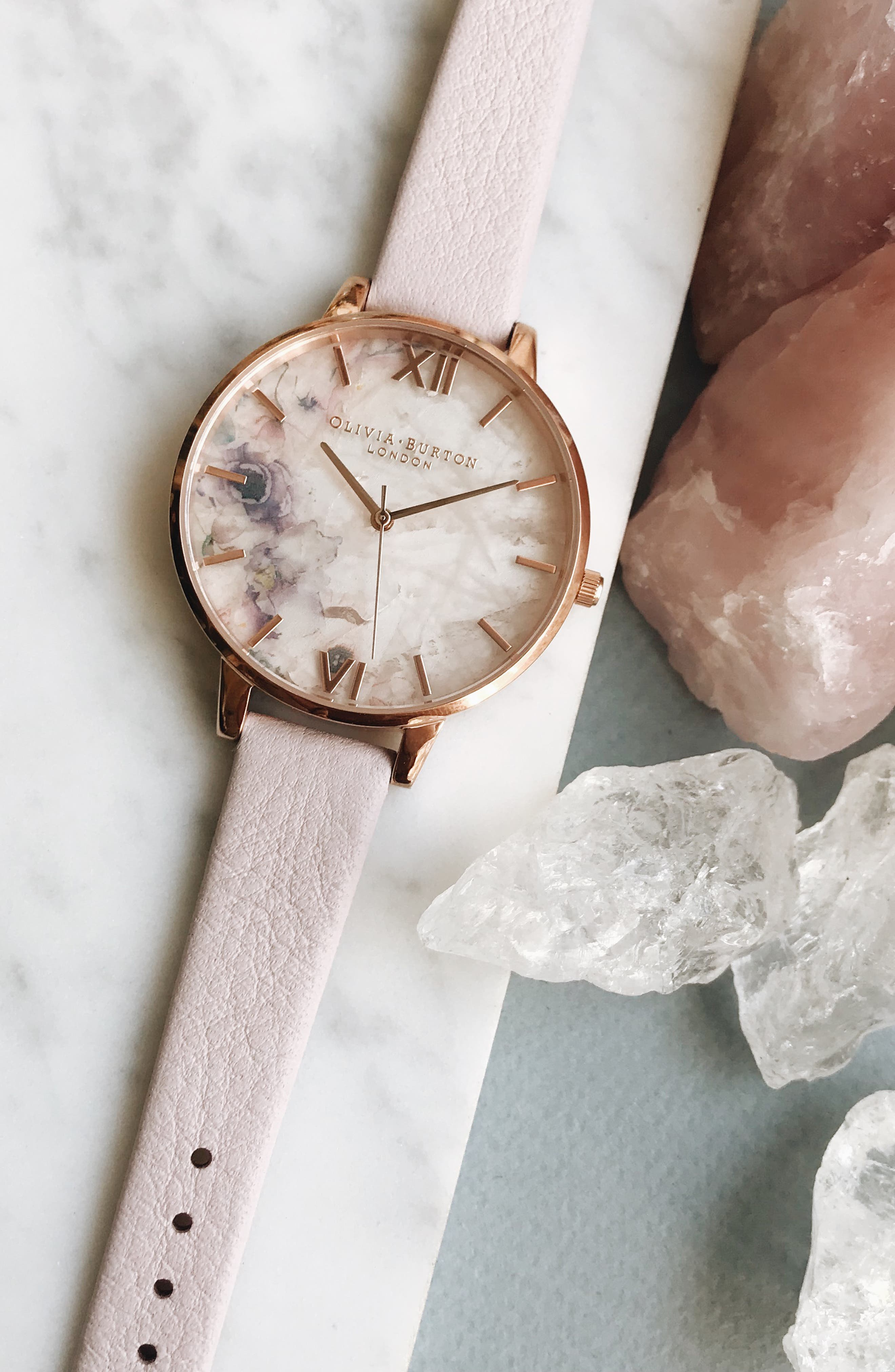 Leather Strap Watch, 38mm,                             Alternate thumbnail 7, color,                             BLOSSOM/ ROSE GOLD