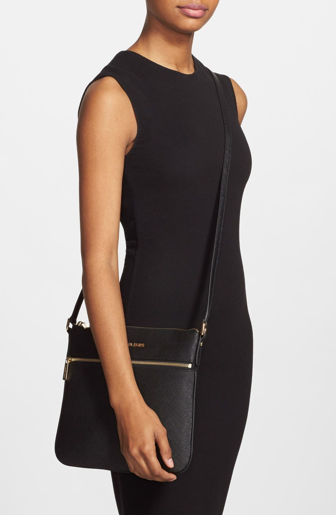 'Bedford' Saffiano Leather Flat Crossbody Bag,                             Alternate thumbnail 6, color,                             001