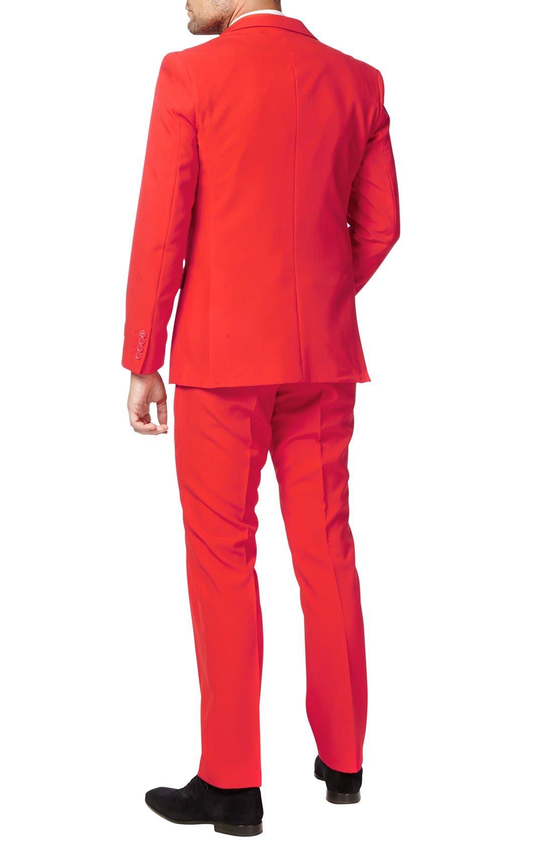 OppoSuit 'Red Devil' Trim Fit Two-Piece Suit with Tie,                             Alternate thumbnail 2, color,                             610