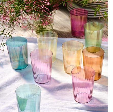 Pastel-colored LSA glassware.