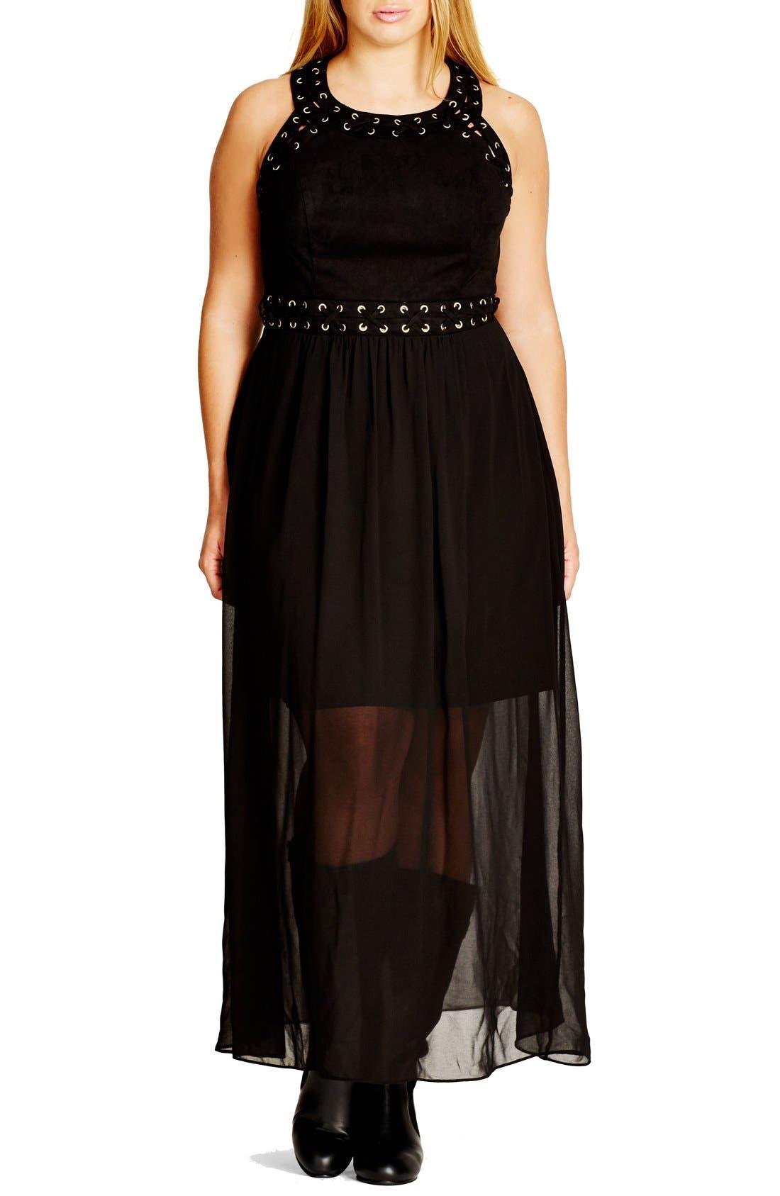'Rhianna' Lace-Up Trim Faux Suede & Chiffon Maxi Dress,                             Main thumbnail 1, color,                             001