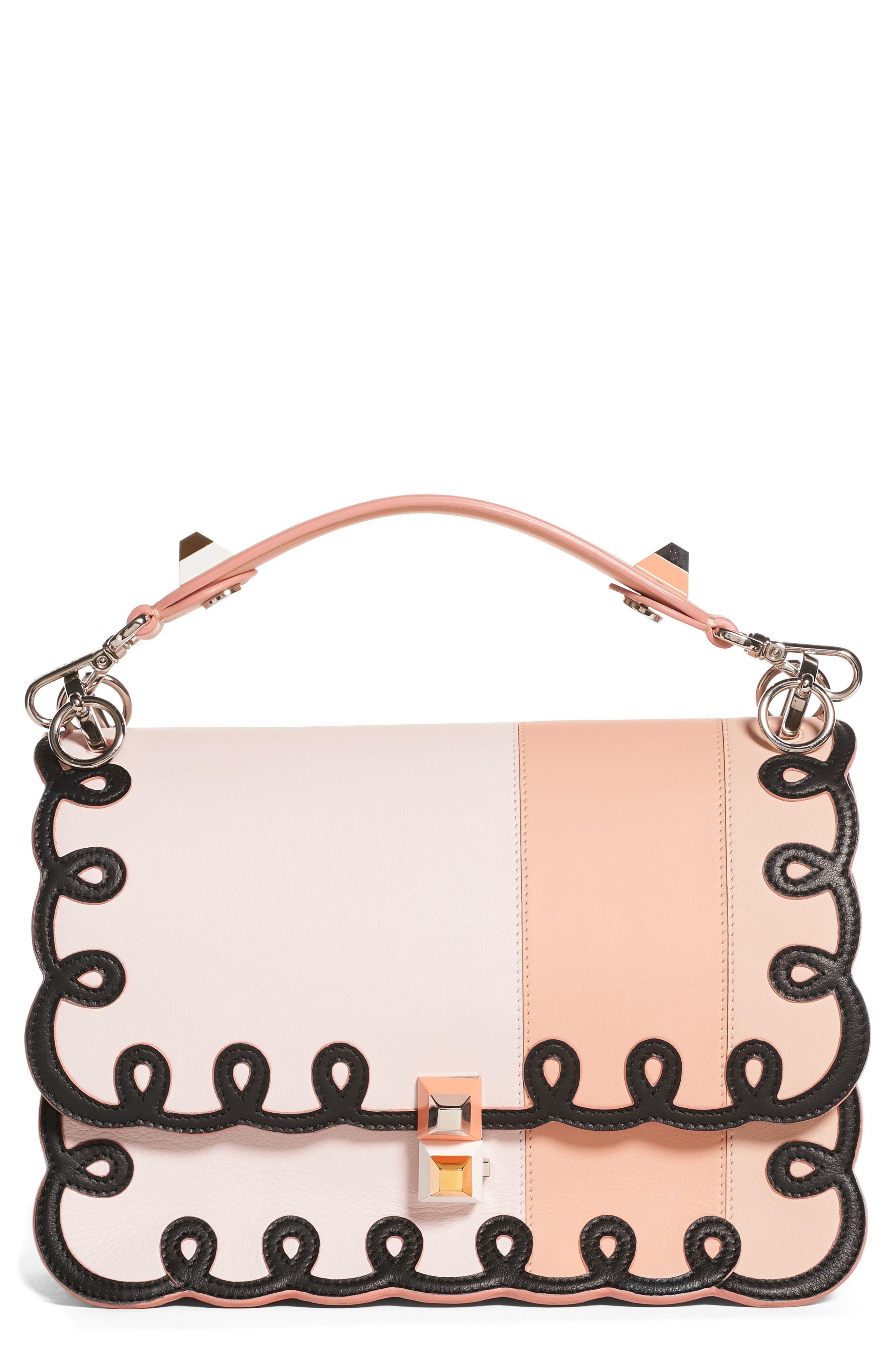 Kan I Scalloped Stripe Leather Shoulder Bag,                         Main,                         color, PLASTER PINK