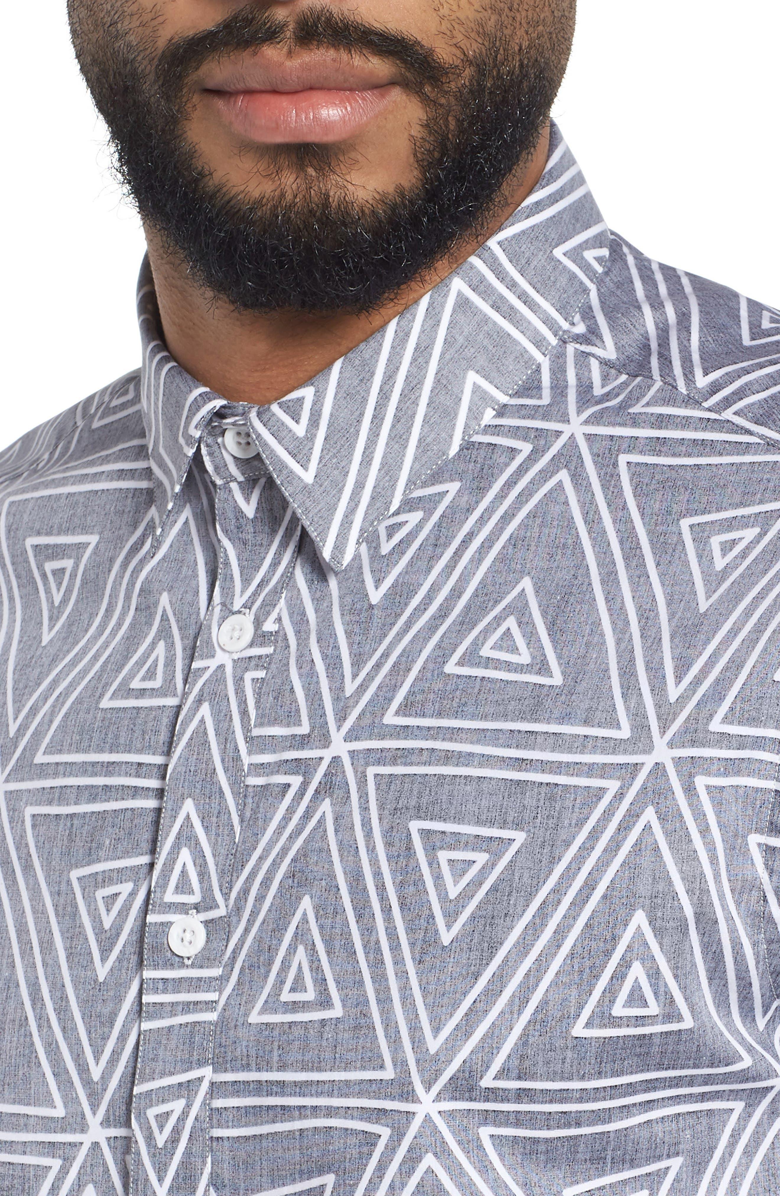 Geometric Woven Short Sleeve Shirt,                             Alternate thumbnail 4, color,                             004