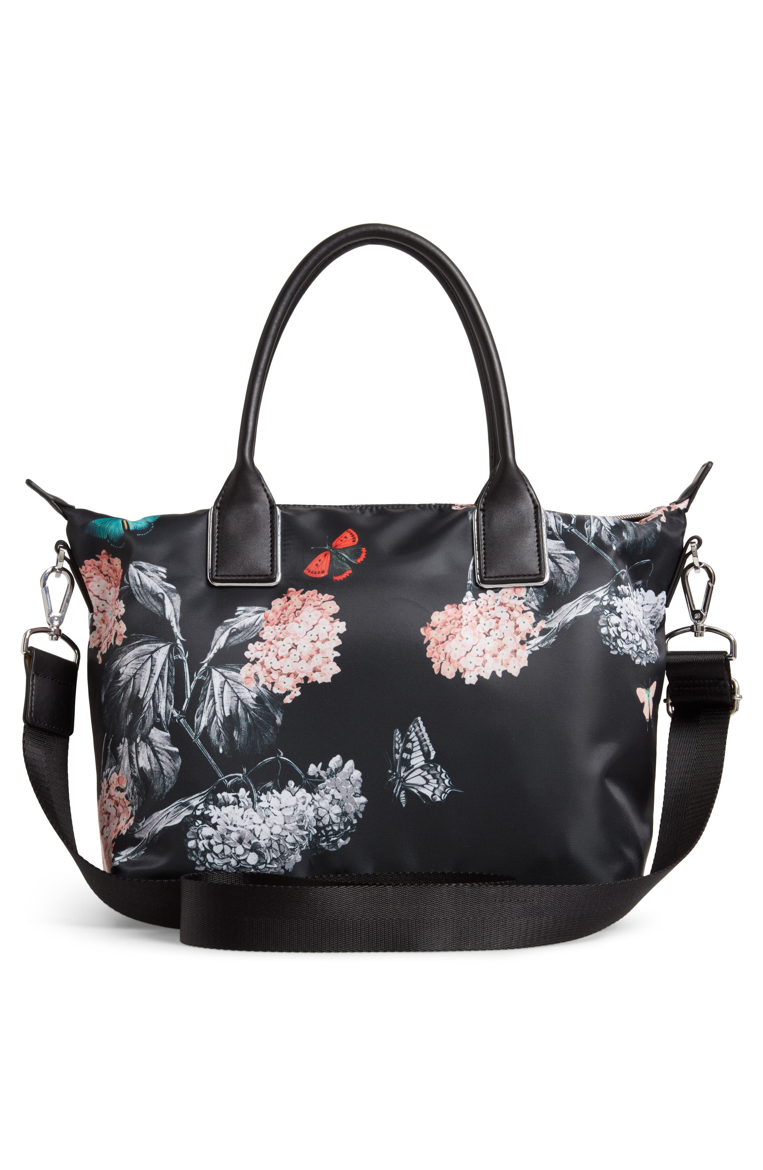 Small Margey Narrnia Print Tote,                             Alternate thumbnail 3, color,                             BLACK