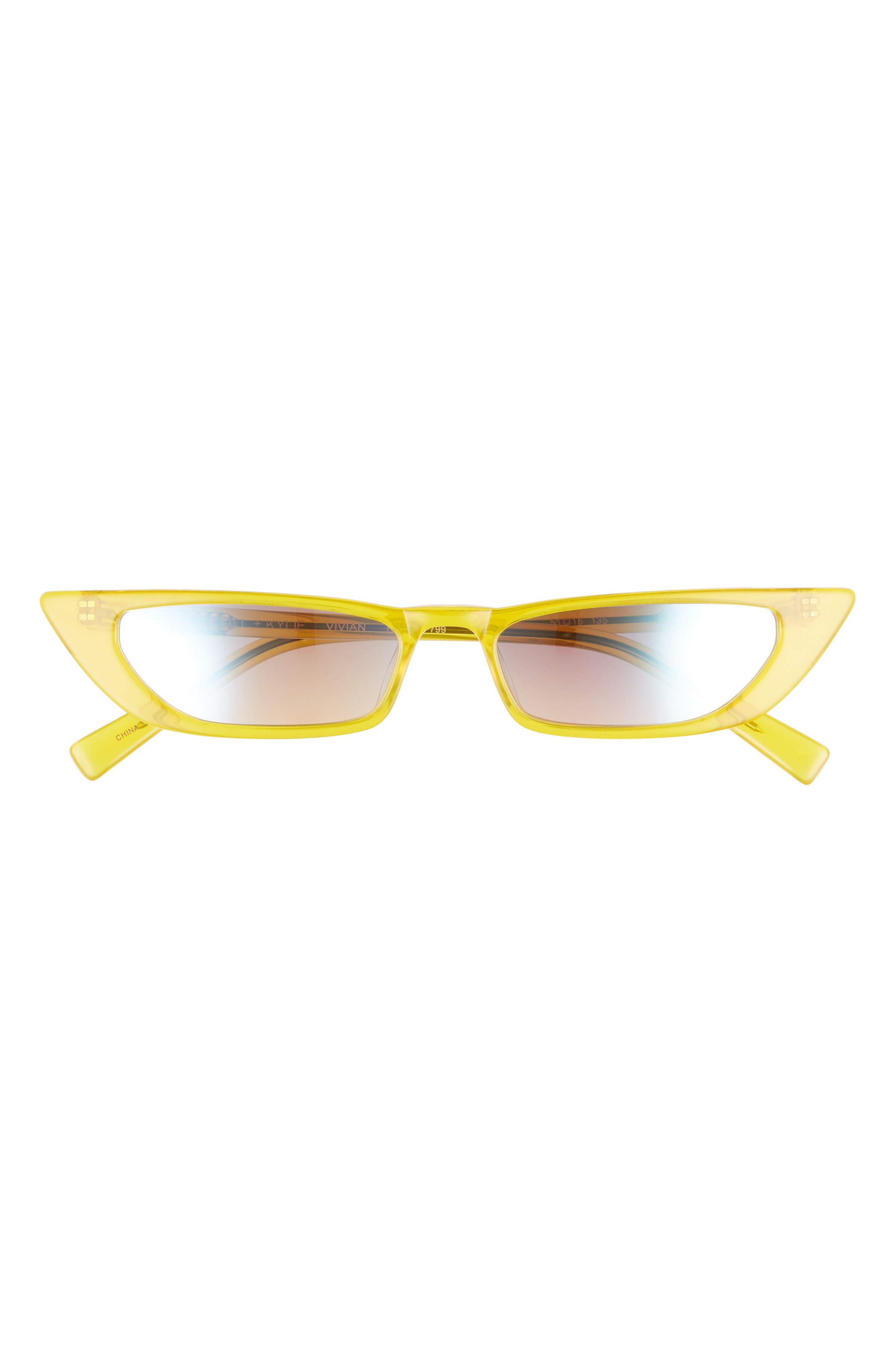 Vivian Extreme 51mm Cat Eye Sunglasses,                             Alternate thumbnail 3, color,                             SUN CITY YELLOW/ SOLID SMOKE