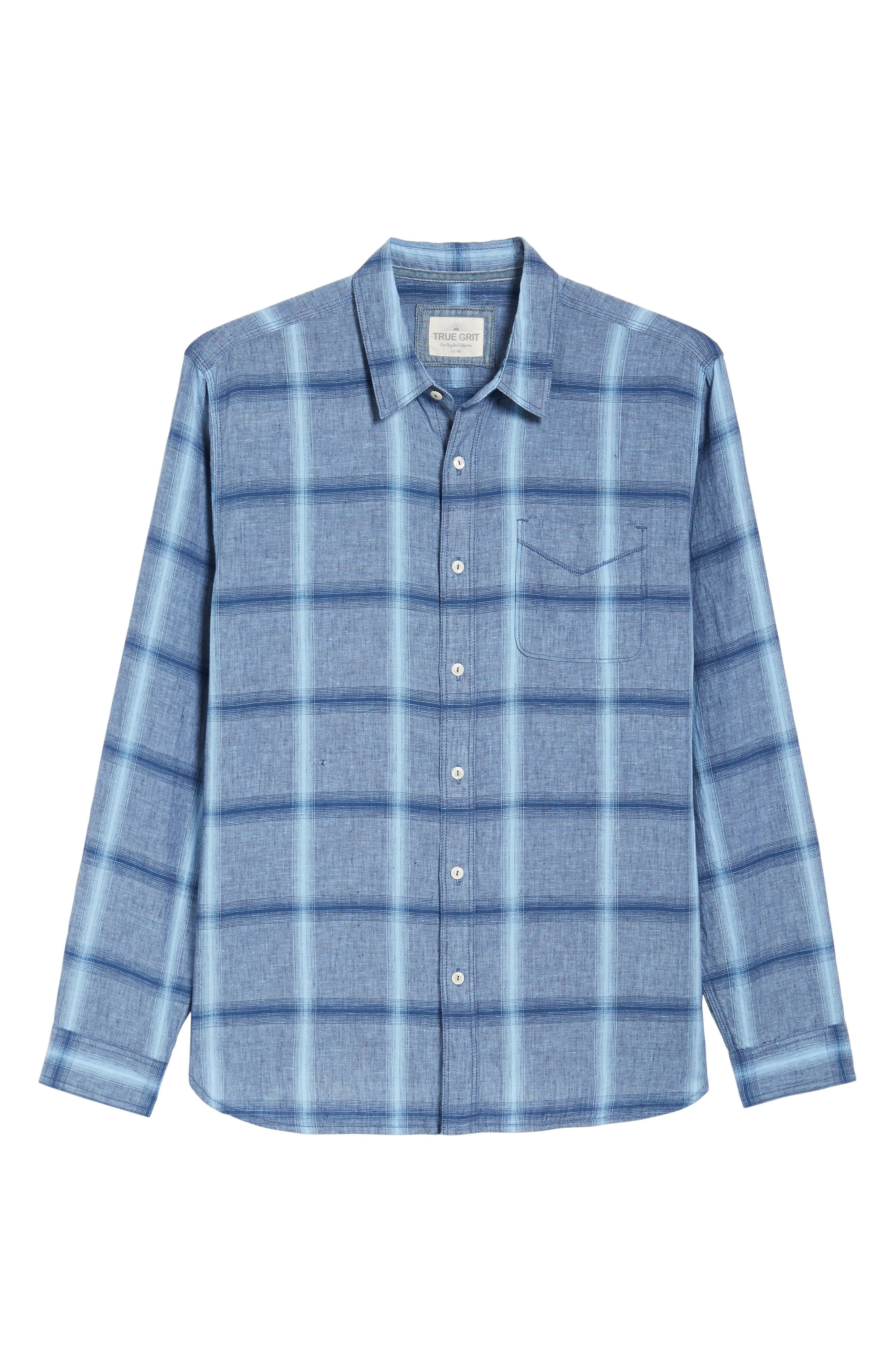 Rincon Plaid Linen Blend Chambray Sport Shirt,                             Alternate thumbnail 6, color,                             400