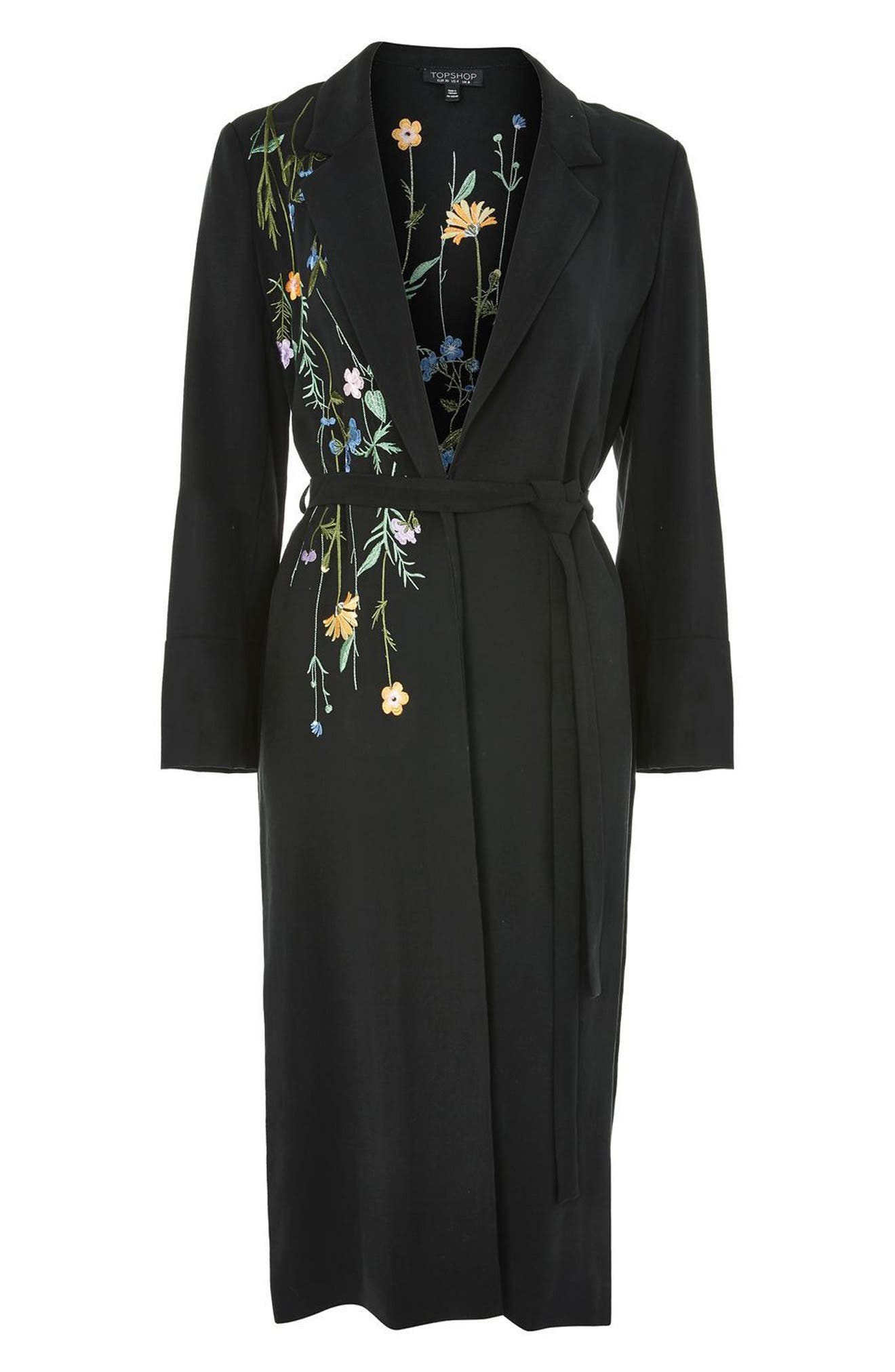 Floral Embroidered Duster Coat,                             Alternate thumbnail 3, color,                             001