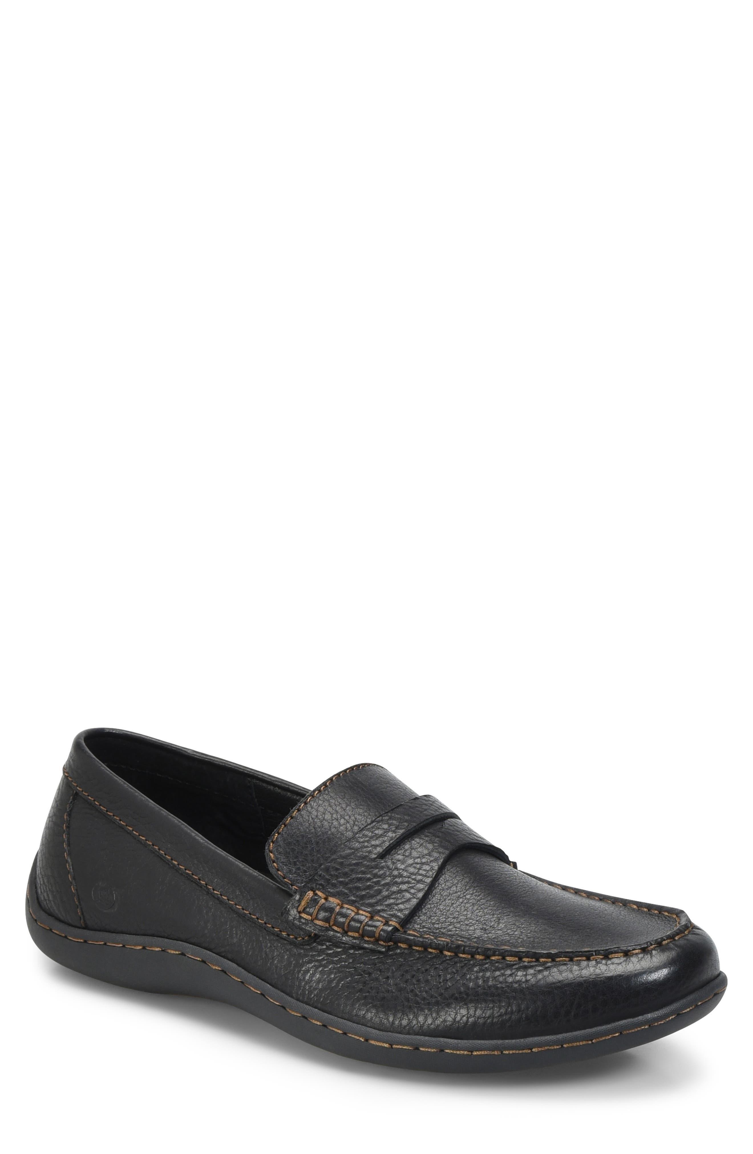 Simon II Driving Shoe,                         Main,                         color, BLACK LEATHER