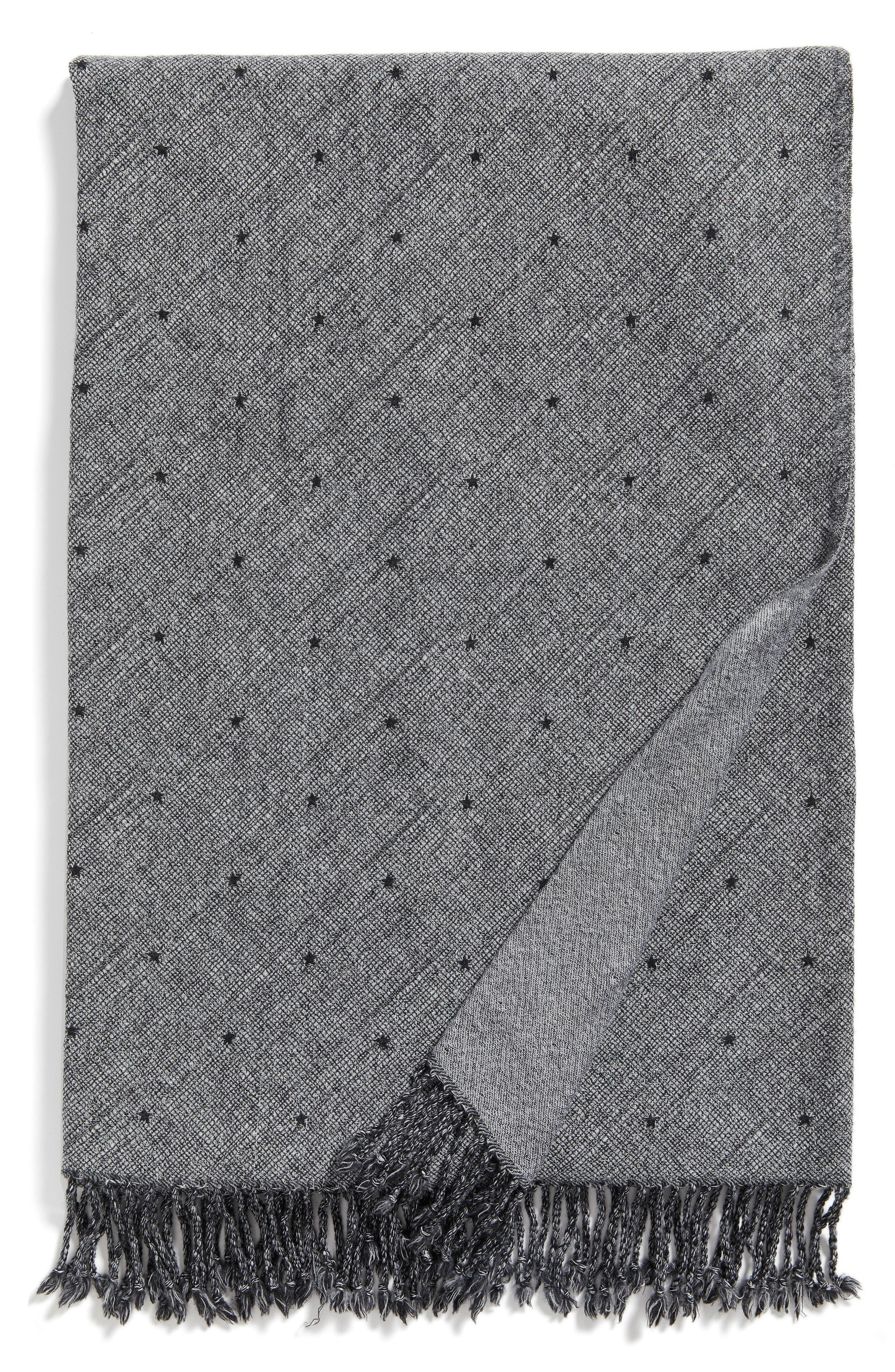 Blackstar Double Face Merino Wool Throw,                             Main thumbnail 1, color,                             BLACKSTAR