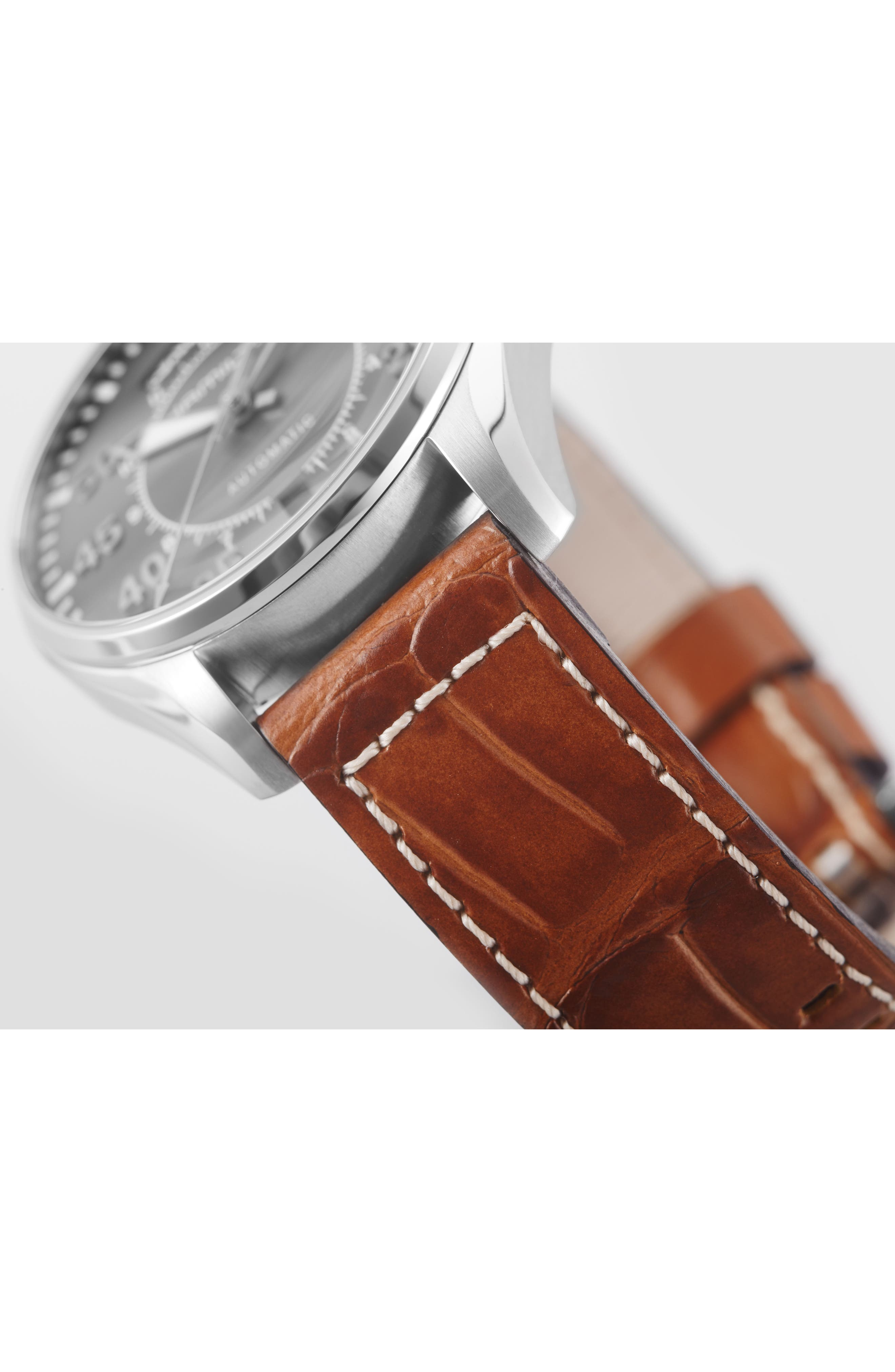 Khaki Pilot Automatic Leather Strap Watch, 42mm,                             Alternate thumbnail 2, color,                             BROWN/ GREY/ SILVER