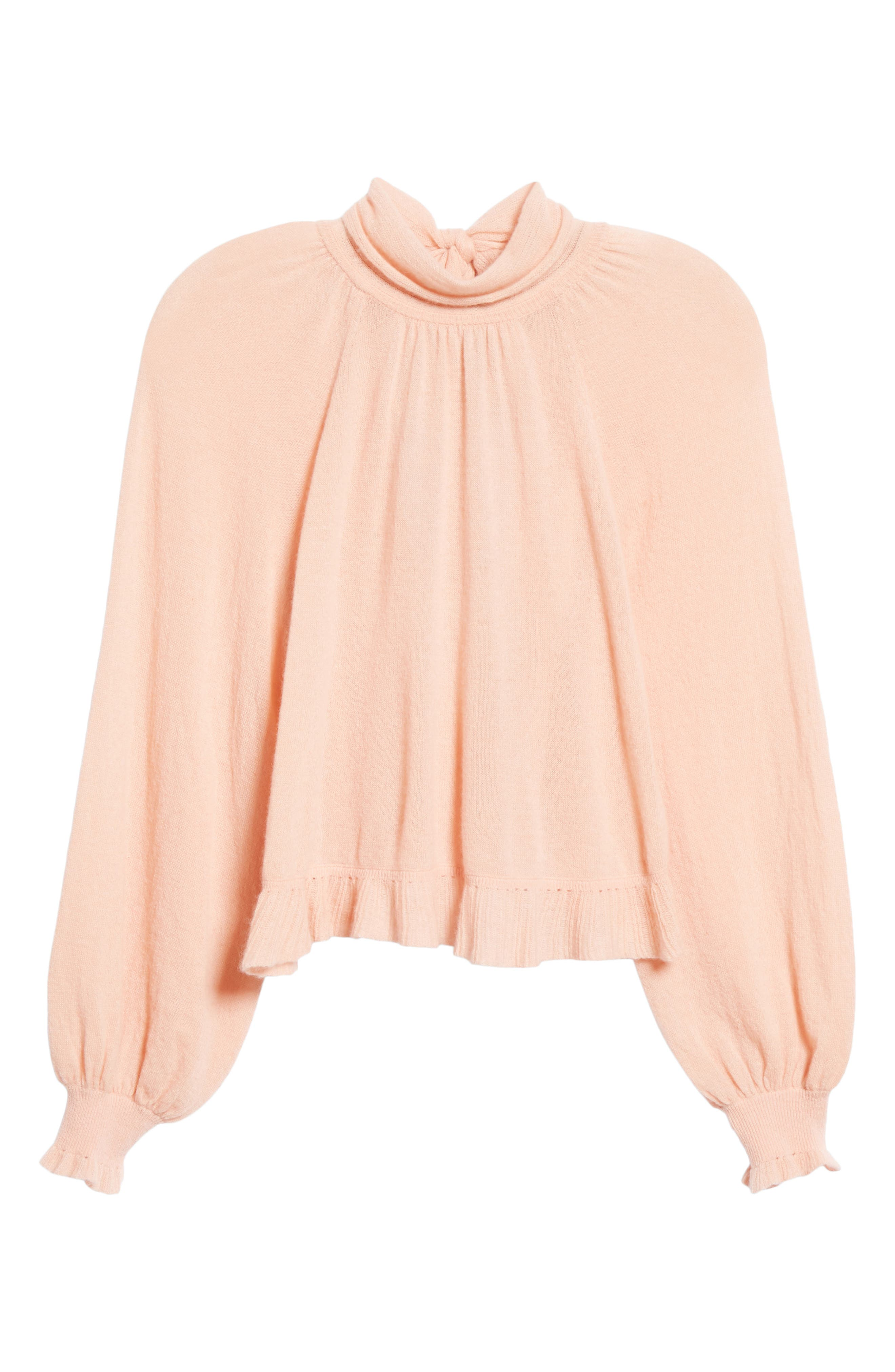 Clover Tie Back Cashmere Blend Sweater,                             Alternate thumbnail 6, color,                             ROSE