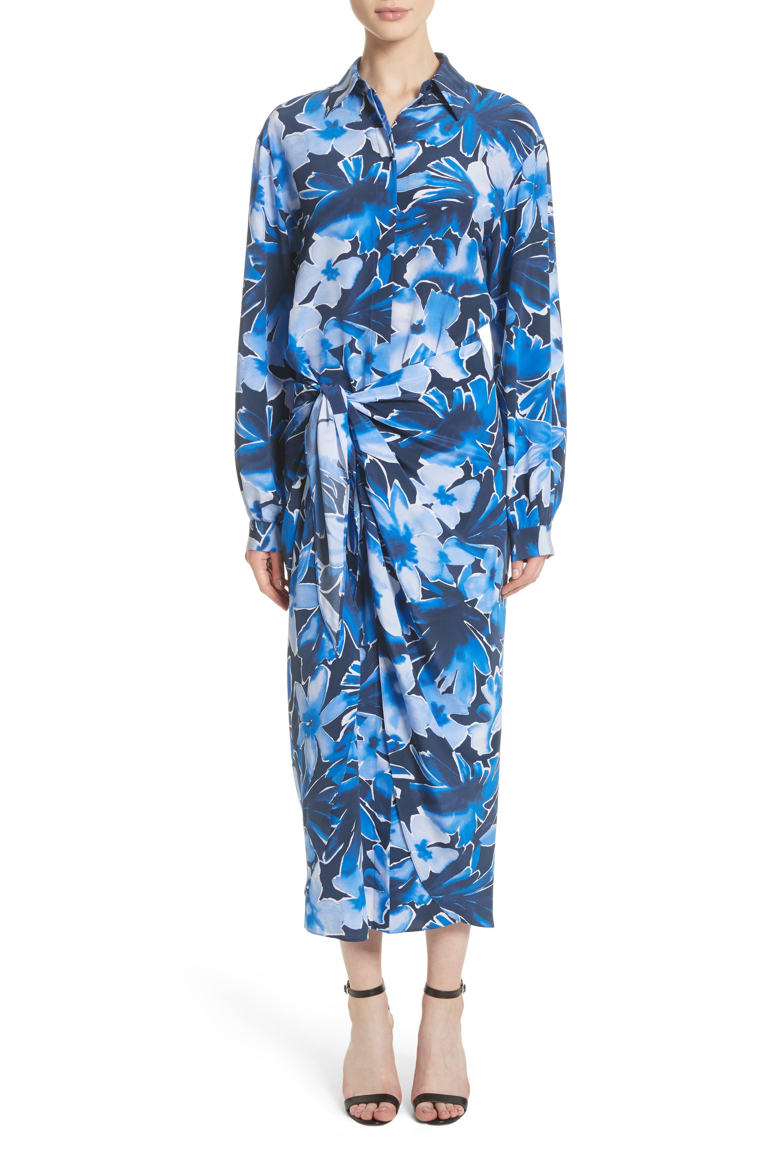 Floral Silk Sarong Dress,                             Alternate thumbnail 5, color,