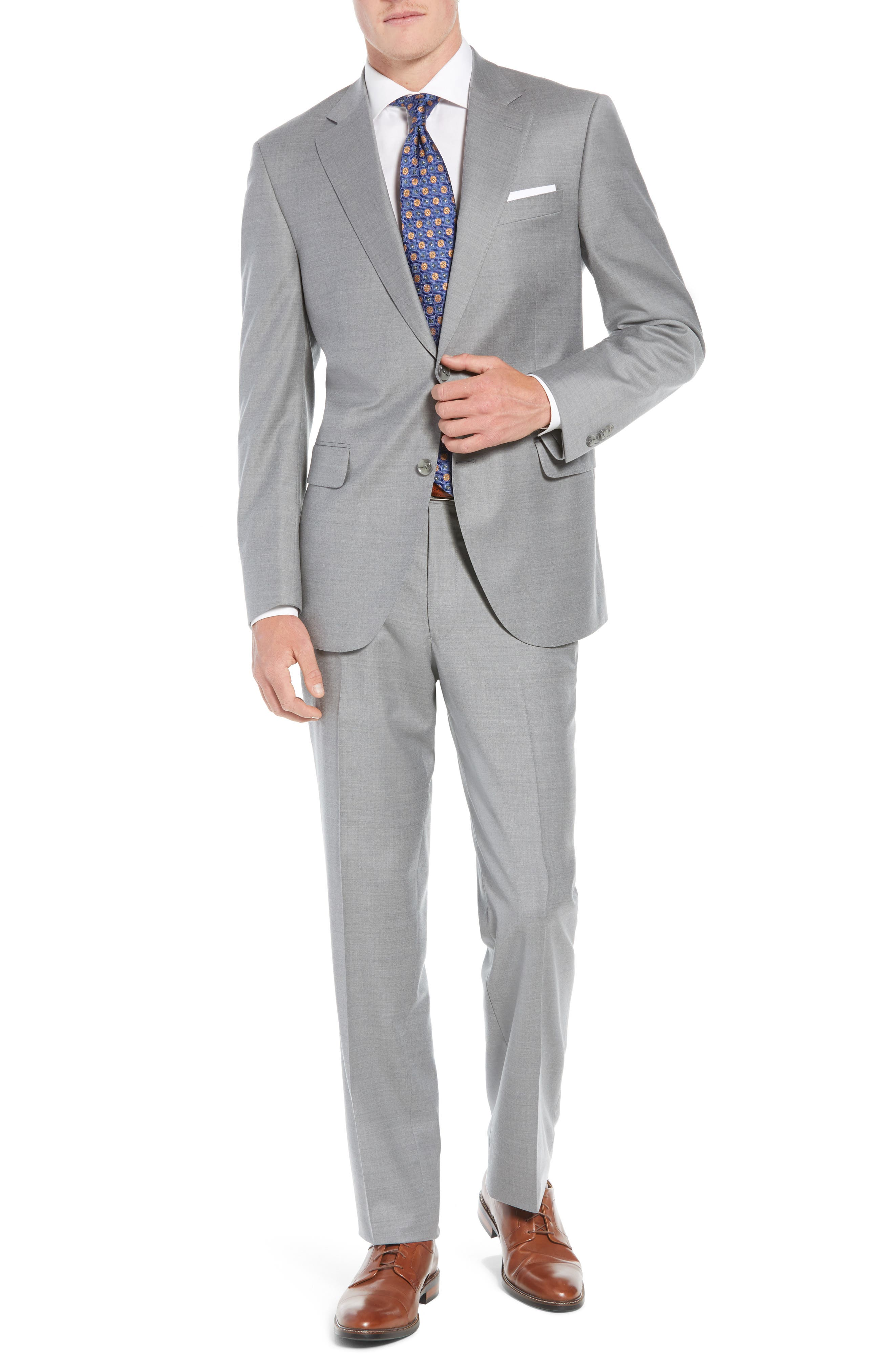 Flynn Classic Fit Solid Wool Suit,                         Main,                         color, LIGHT GREY